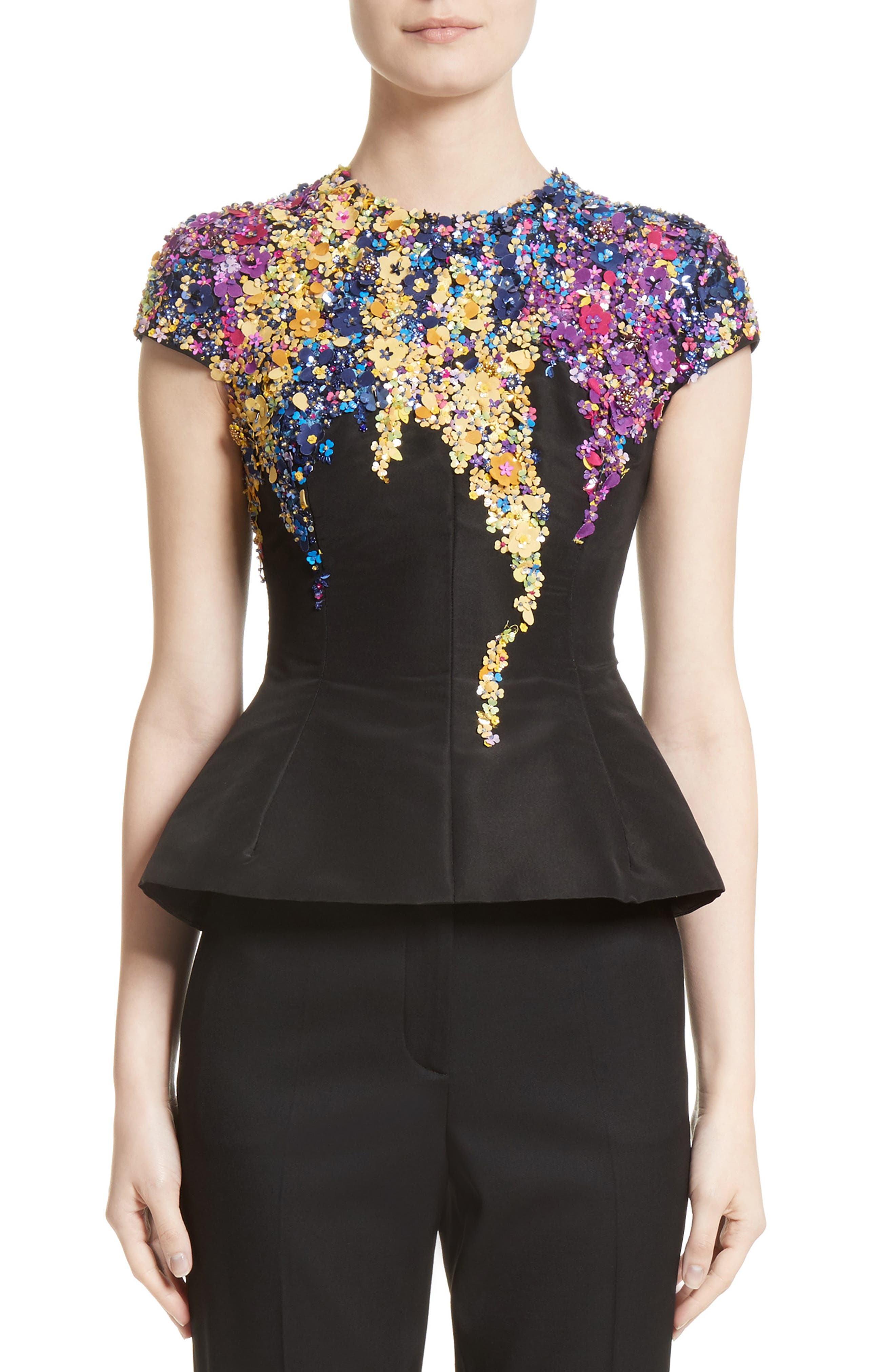 Oscar de la Renta Tendrils Floral Embroidered Silk Faille Top