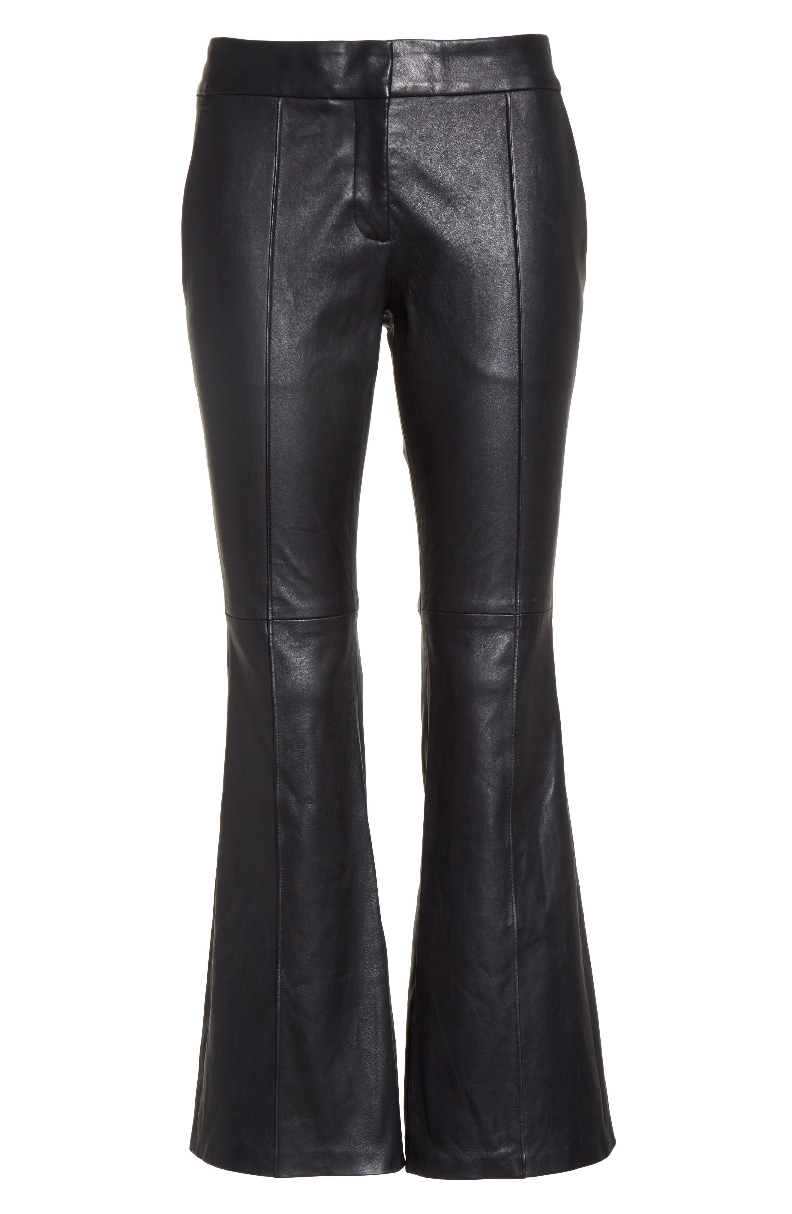 Alternate Image 6  - A.L.C. Evan Lambskin Leather Flare Crop Pants