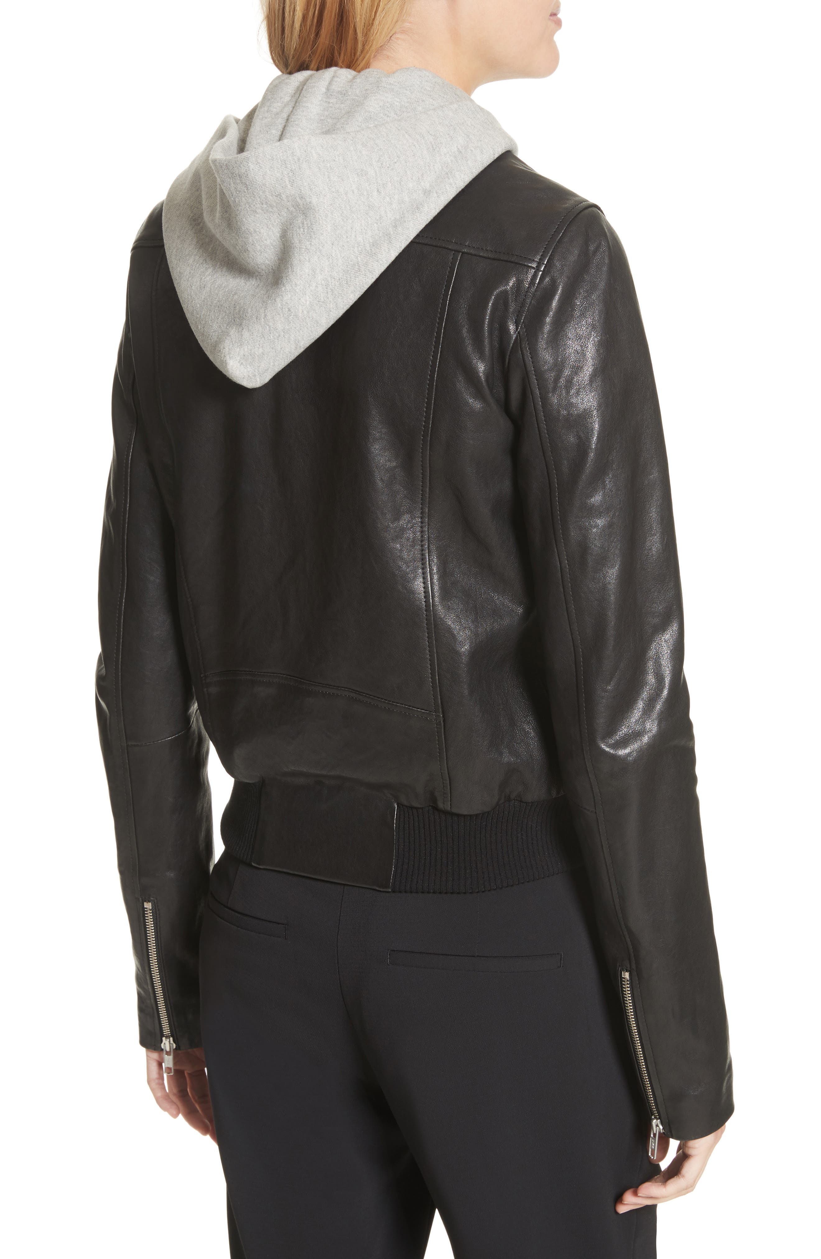 Alternate Image 3  - A.L.C. Edison Leather Jacket with Removable Hooded Inset