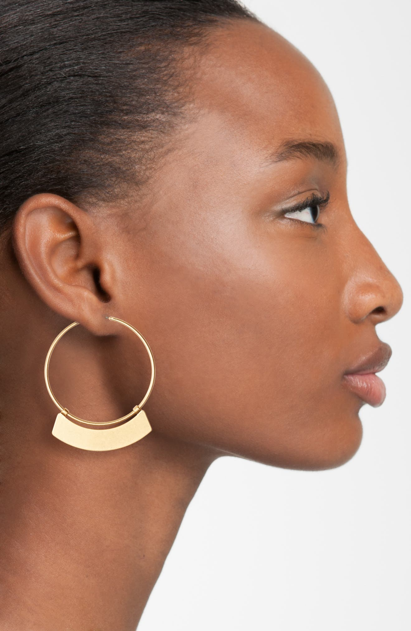 Crescent Hoop Earrings,                             Alternate thumbnail 2, color,                             Light Worn Gold