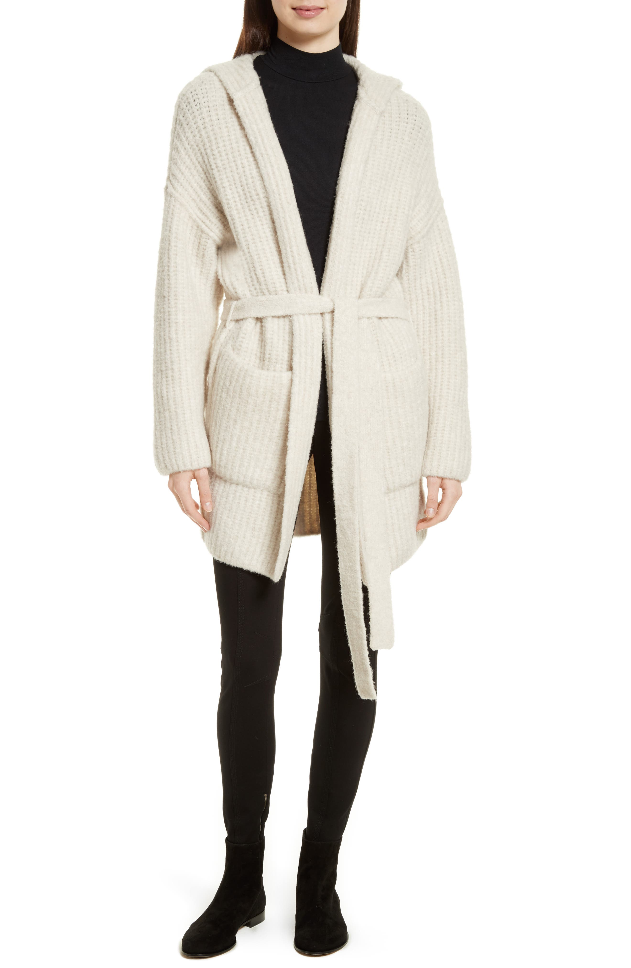 Hooded Sweater Coat,                             Alternate thumbnail 2, color,                             Dusty Ivory