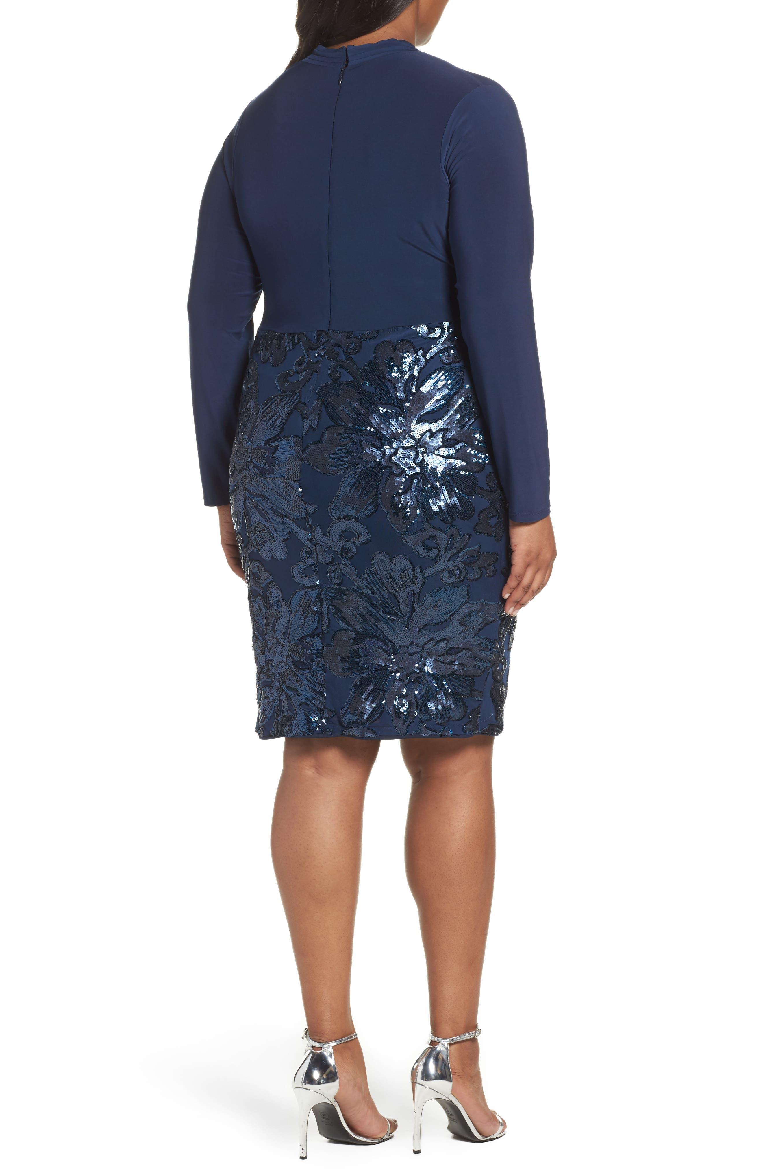 Alternate Image 2  - Marina Sequin Faux Wrap Sheath Dress (Plus Size)