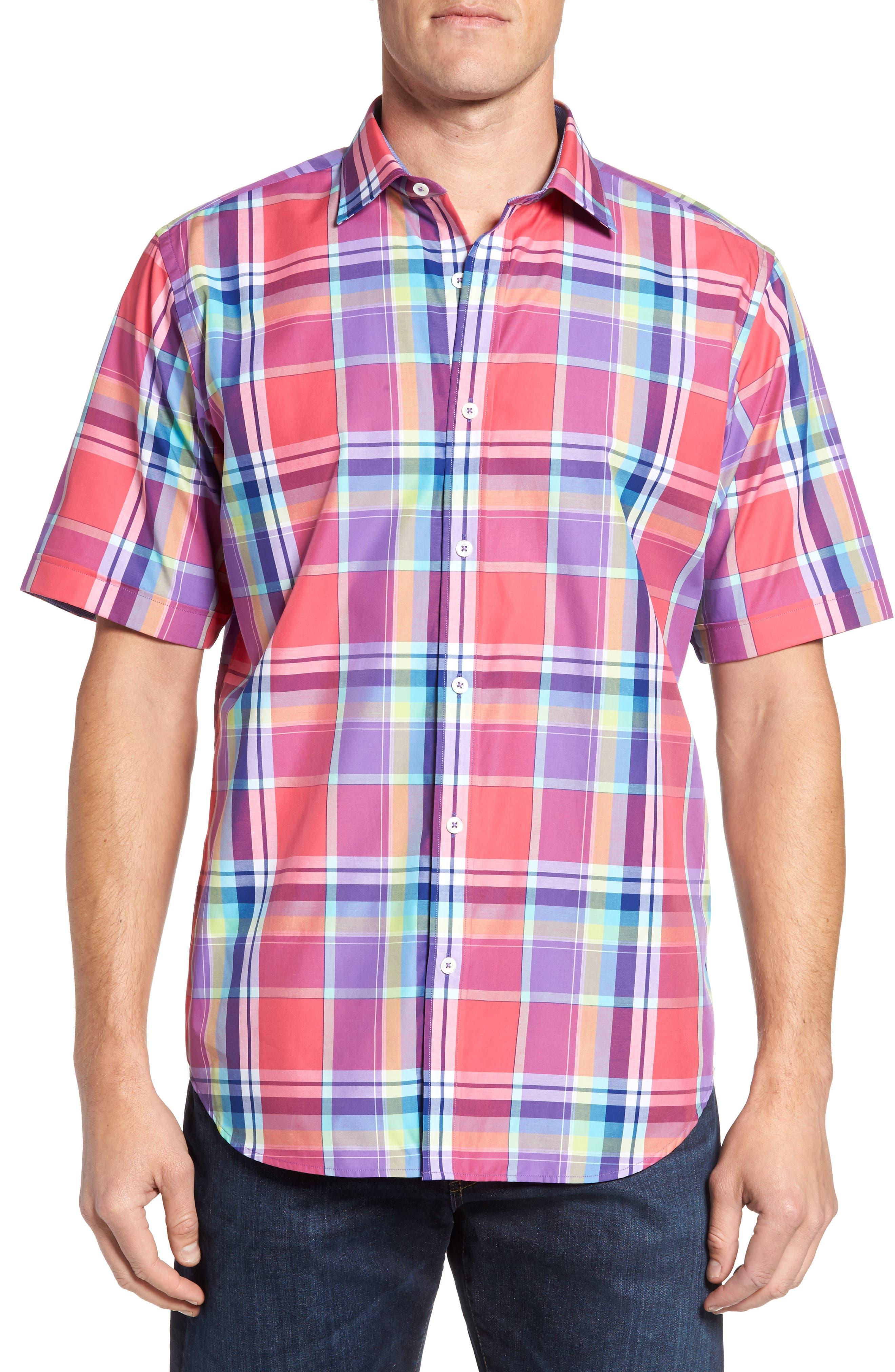 Classic Fit Plaid Sport Shirt,                         Main,                         color, Cherry