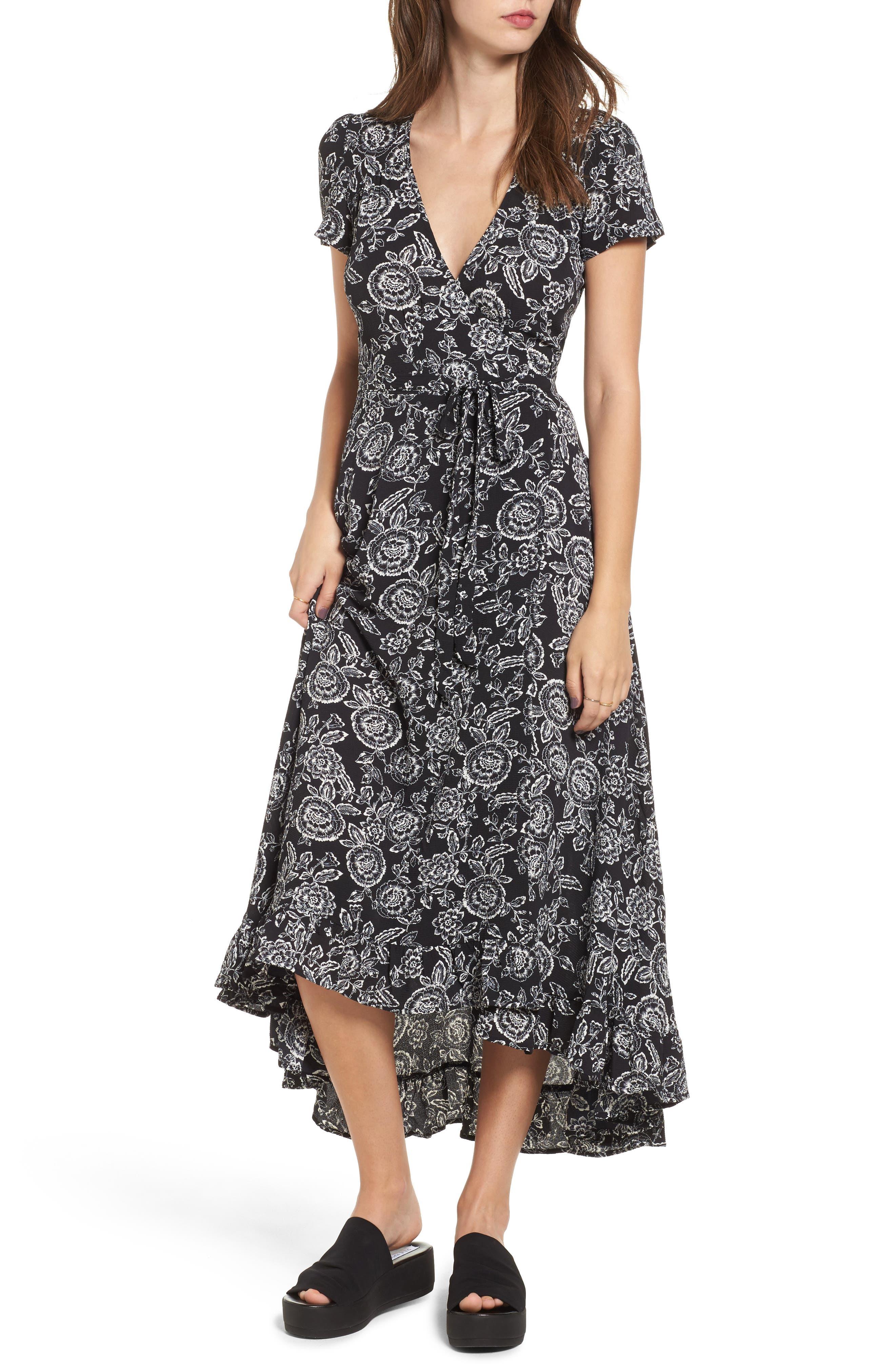 Arabella Wrap Dress,                         Main,                         color, Black