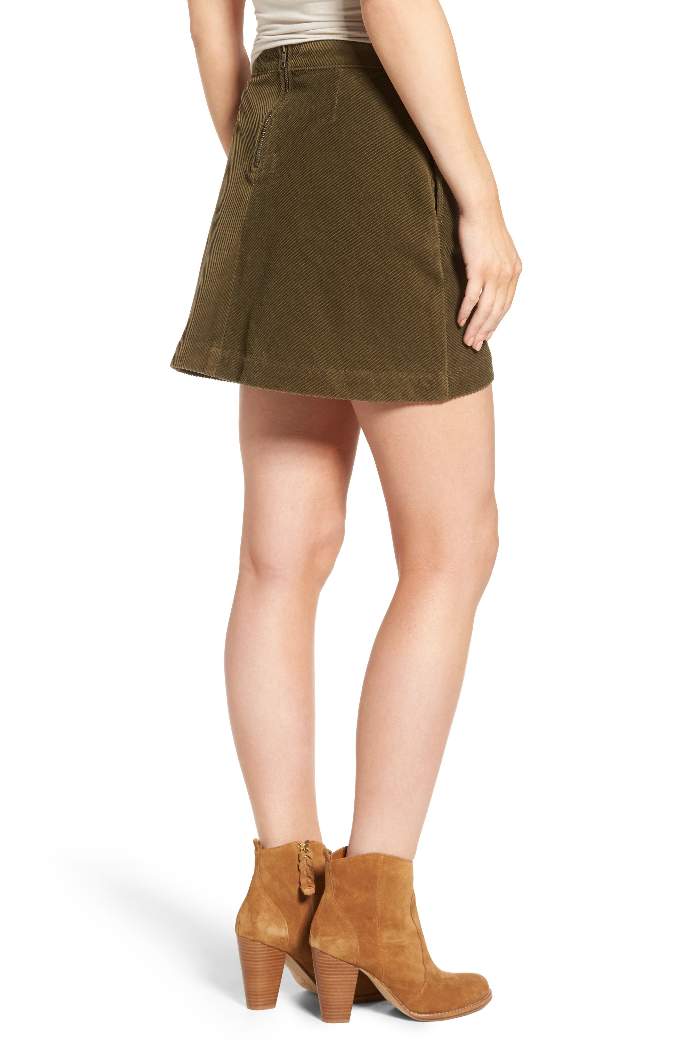 Corduroy A-Line Miniskirt,                             Alternate thumbnail 2, color,                             Olive Dark