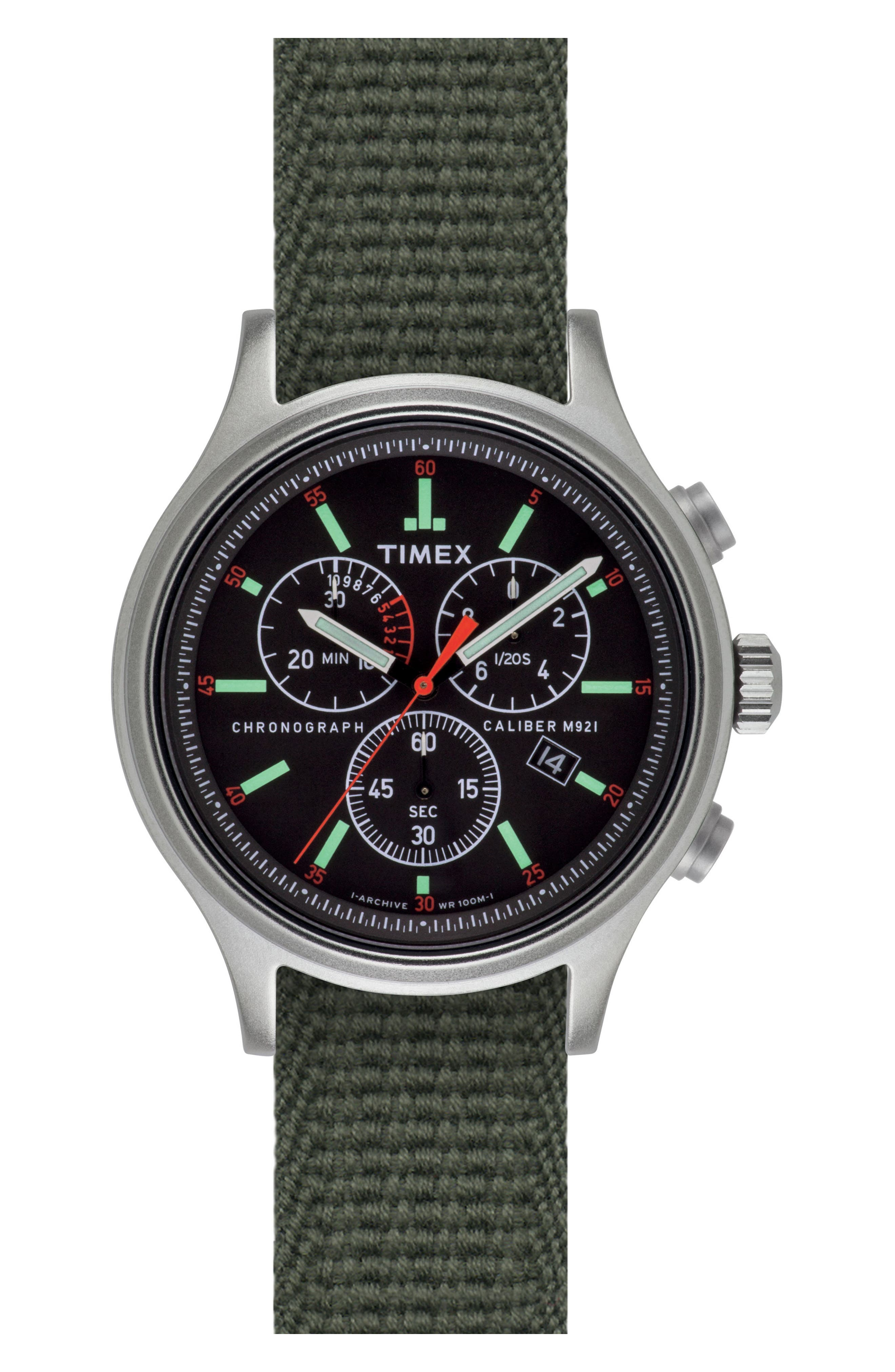 Timex<sup>®</sup> Scout Chronograph Canvas Strap Watch, 43mm,                             Main thumbnail 1, color,                             Black/ Olive Drab