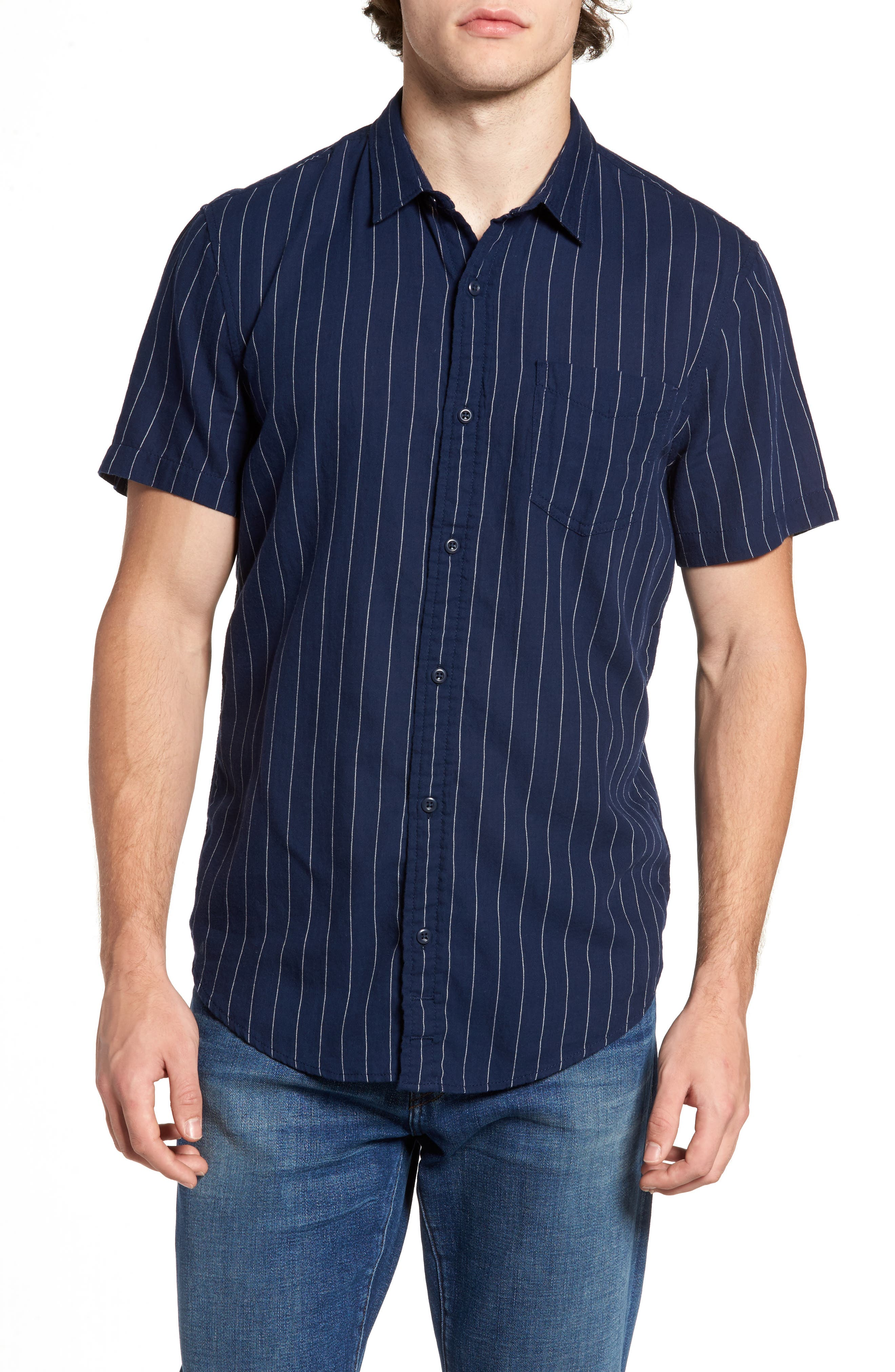 Stripe Twill Shirt,                         Main,                         color, Navy Medieval- White Pinstripe