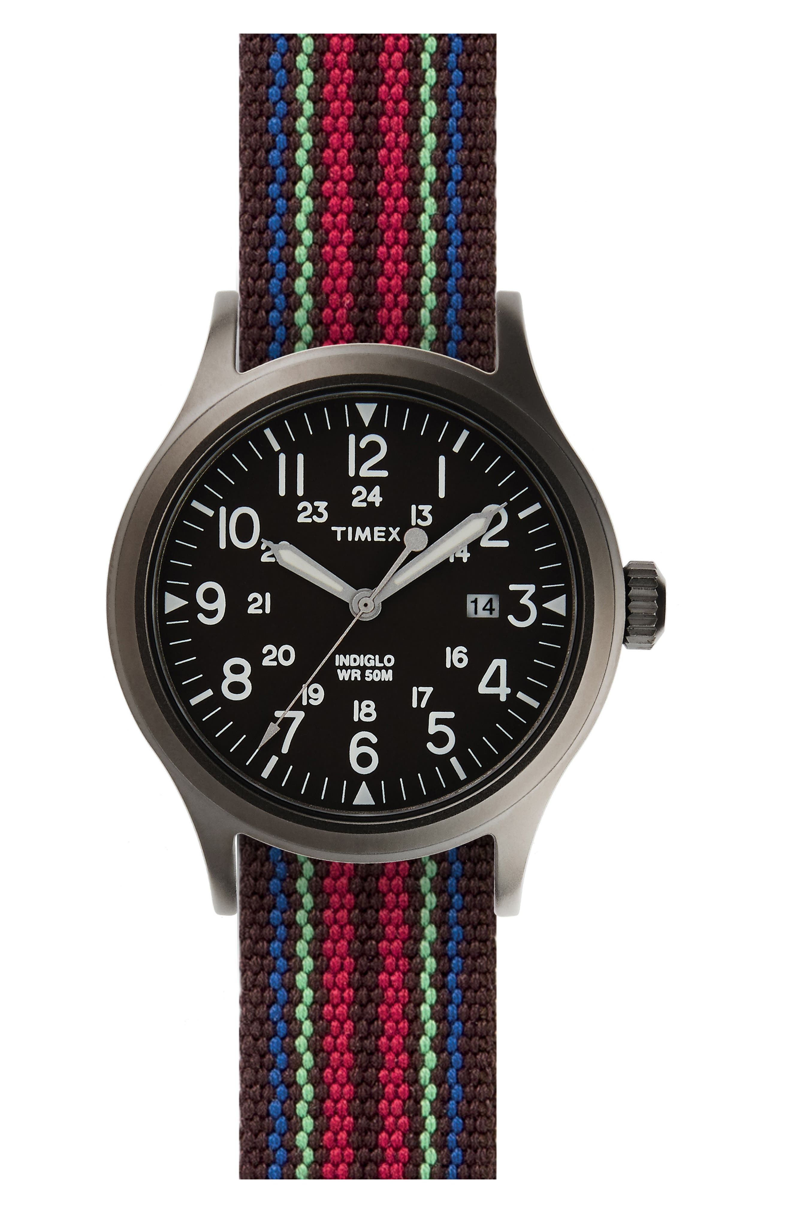 Scout Brook Stripe Strap Watch, 40mm,                         Main,                         color, Black/ Red/ Navy Stripe