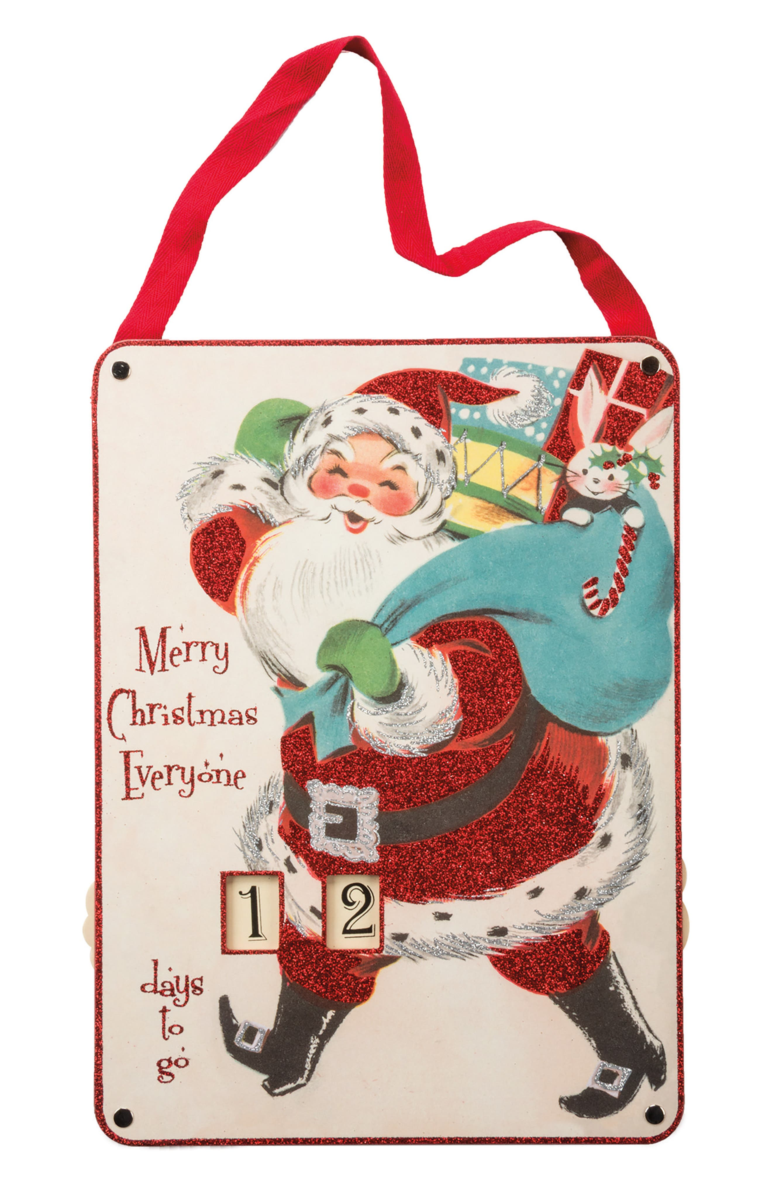 Christmas Countdown Wall Hanging,                         Main,                         color, Red