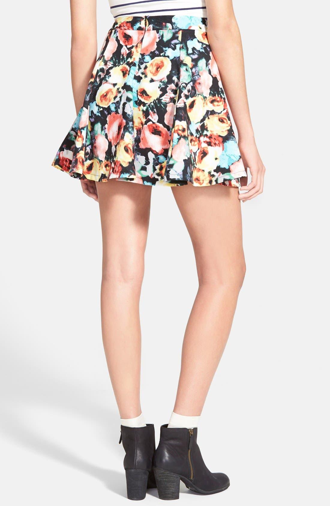 Alternate Image 2  - Lush Print Skater Skirt