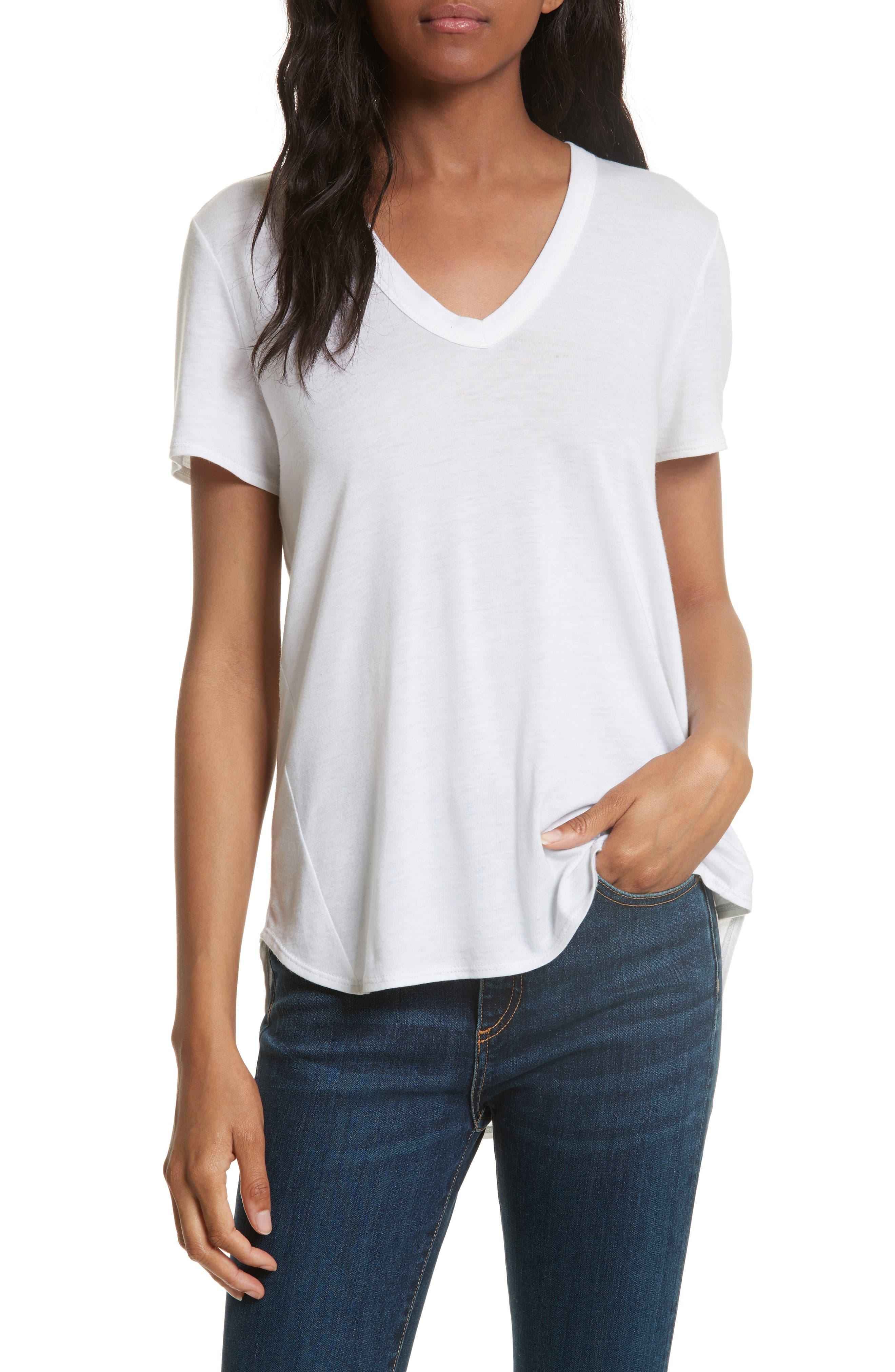 Cindy V-Neck High Low Tee in White