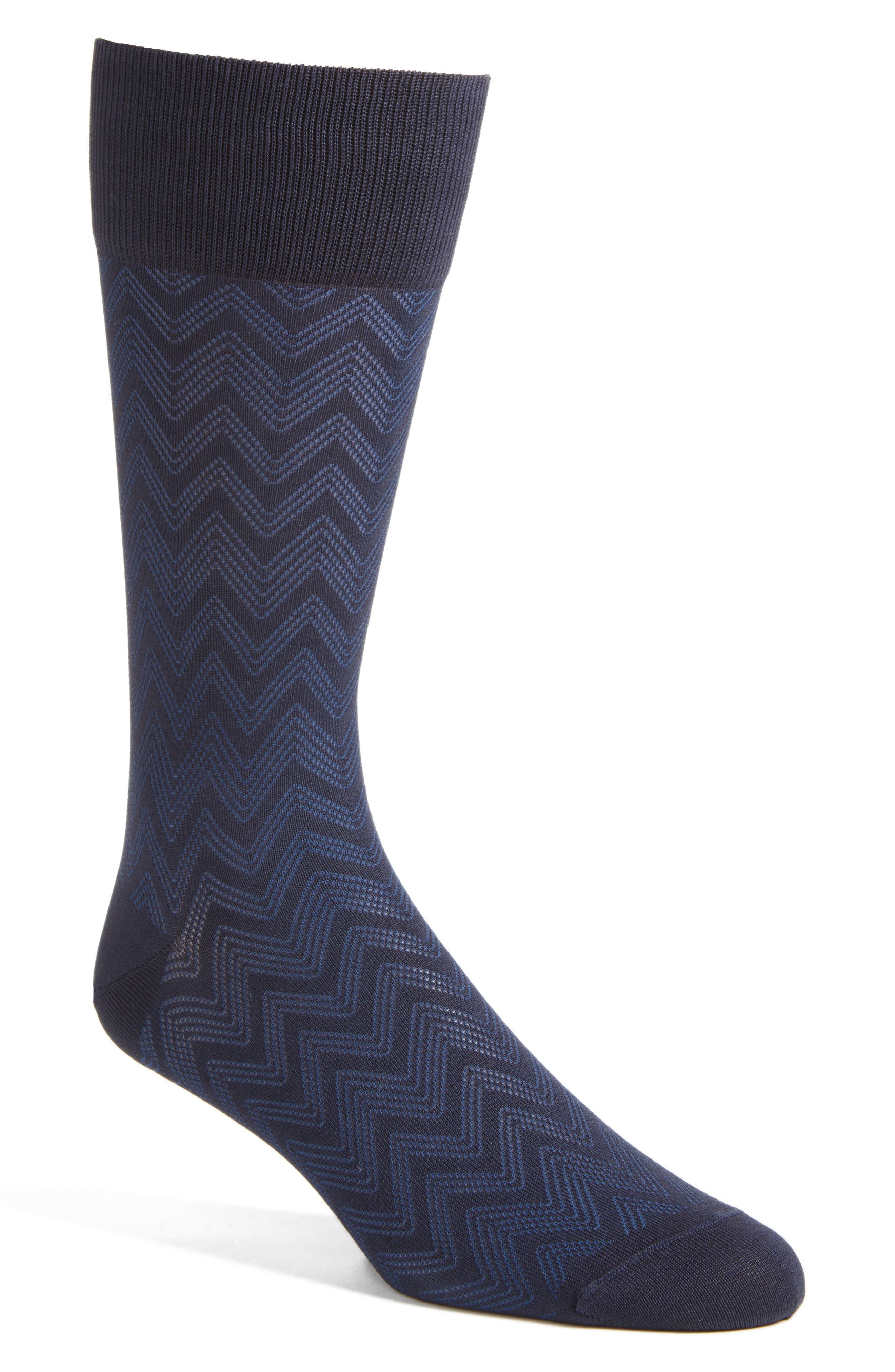 Chevron Socks,                             Main thumbnail 1, color,                             Navy