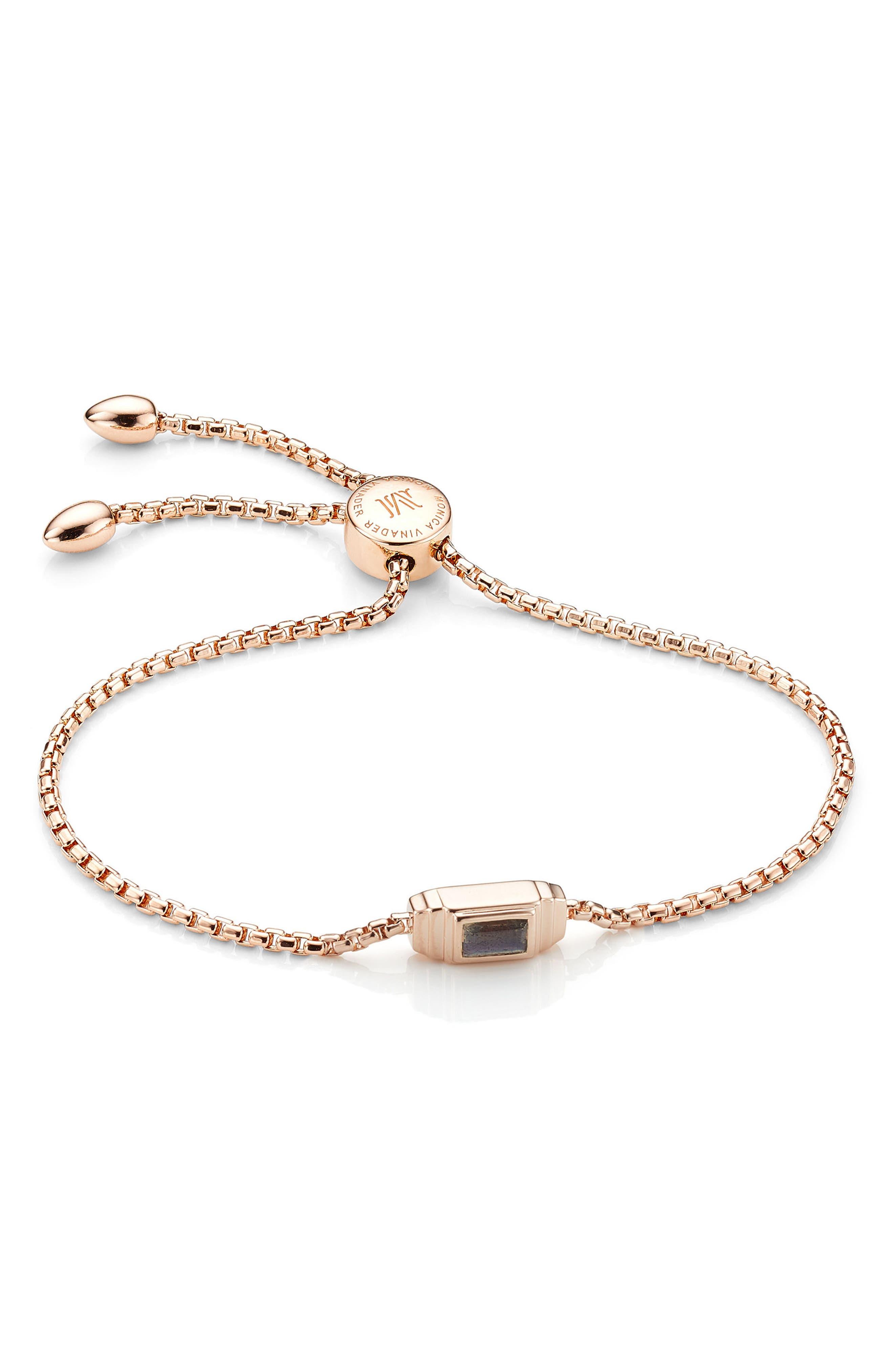Baja Deco Stone Bracelet,                             Main thumbnail 1, color,                             Rose Gold/ Labradorite