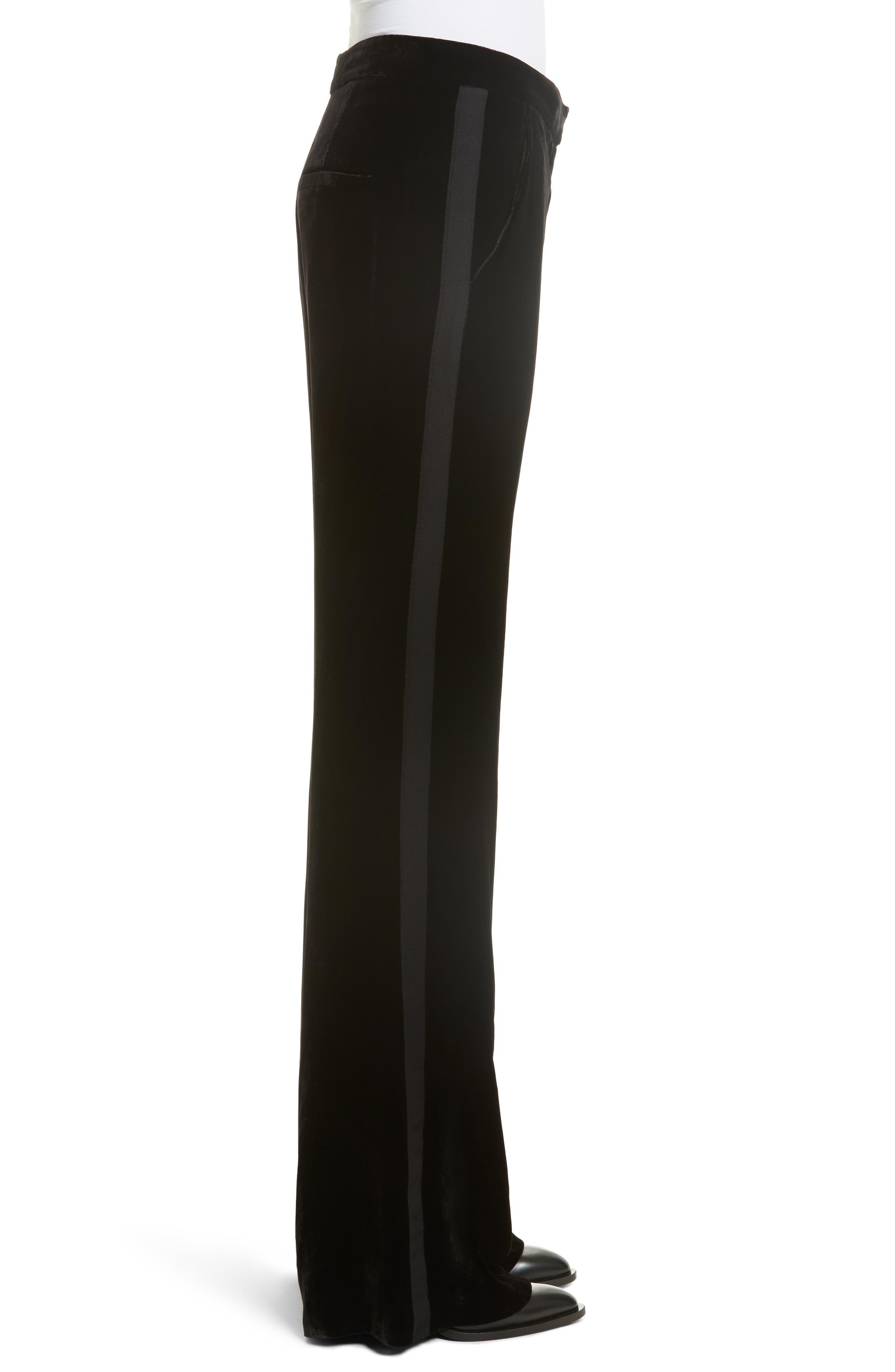 Alternate Image 4  - Veronica Beard Ramsey Velvet Wide Leg Tuxedo Pants