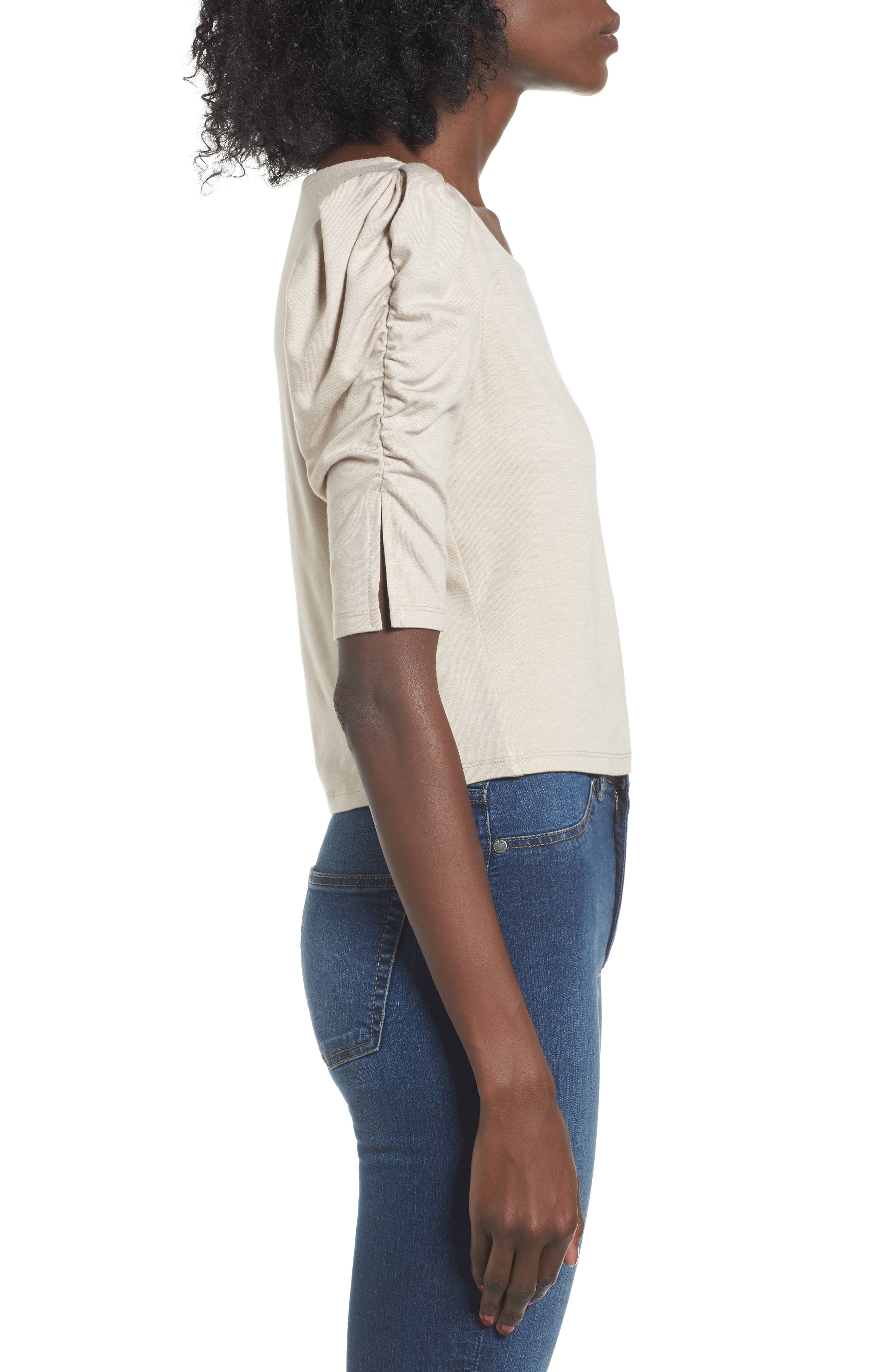 Puff Sleeve Top,                             Alternate thumbnail 3, color,                             Beige Oatmeal