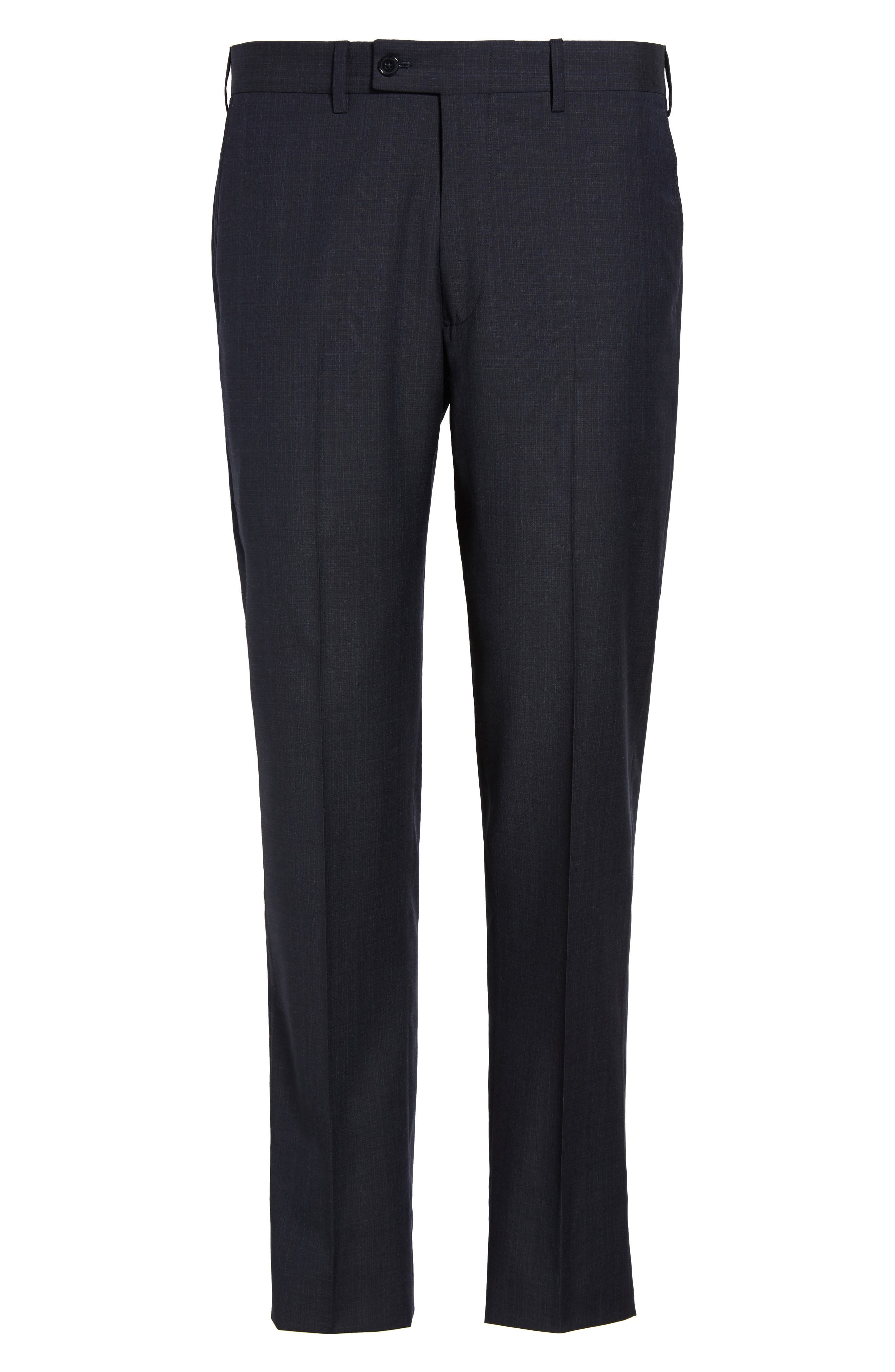 Flat Front Solid Wool Trousers,                             Alternate thumbnail 6, color,                             Navy
