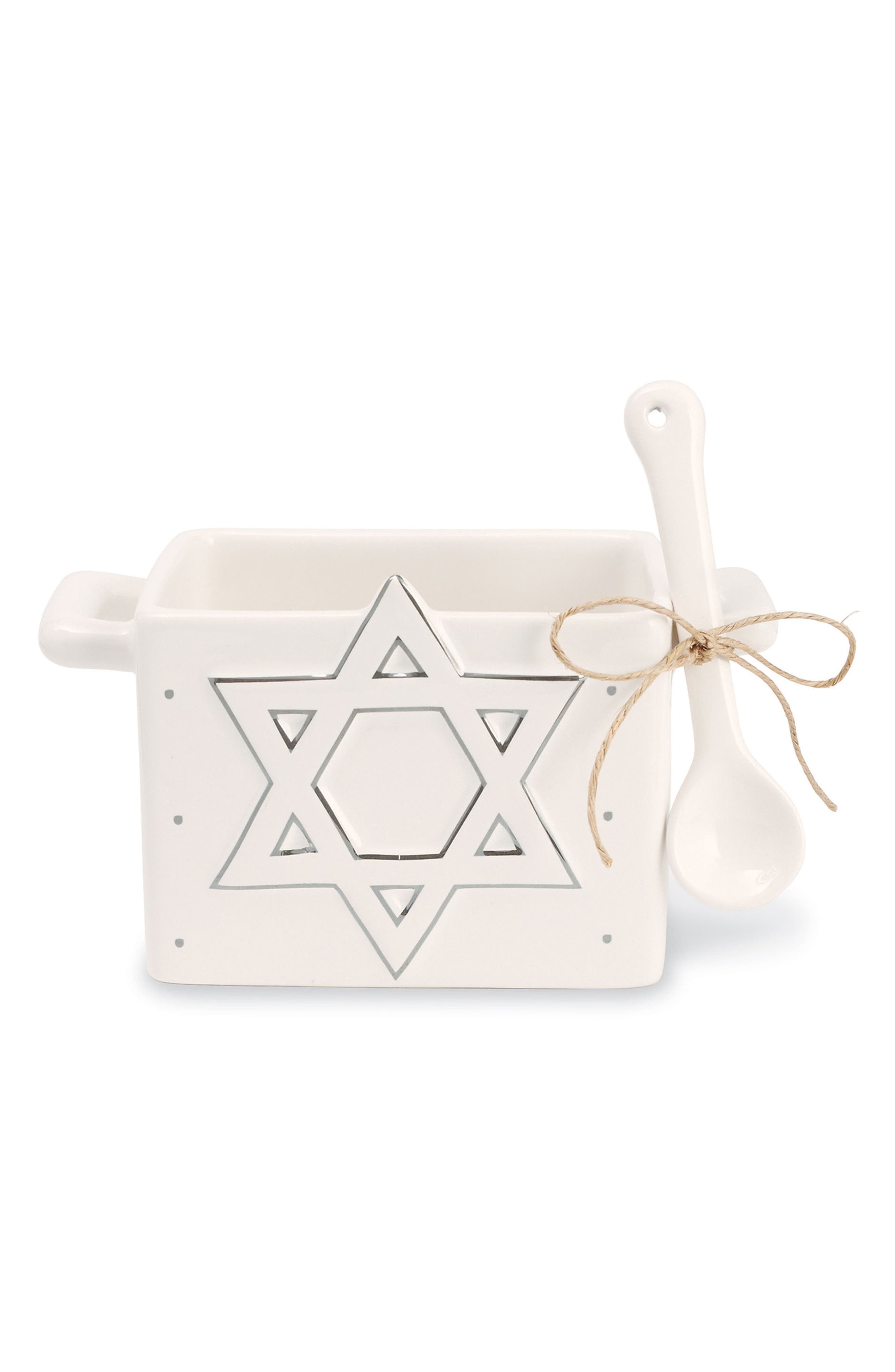 Star of David Hanukkah Candy Caddy & Spoon,                         Main,                         color, White