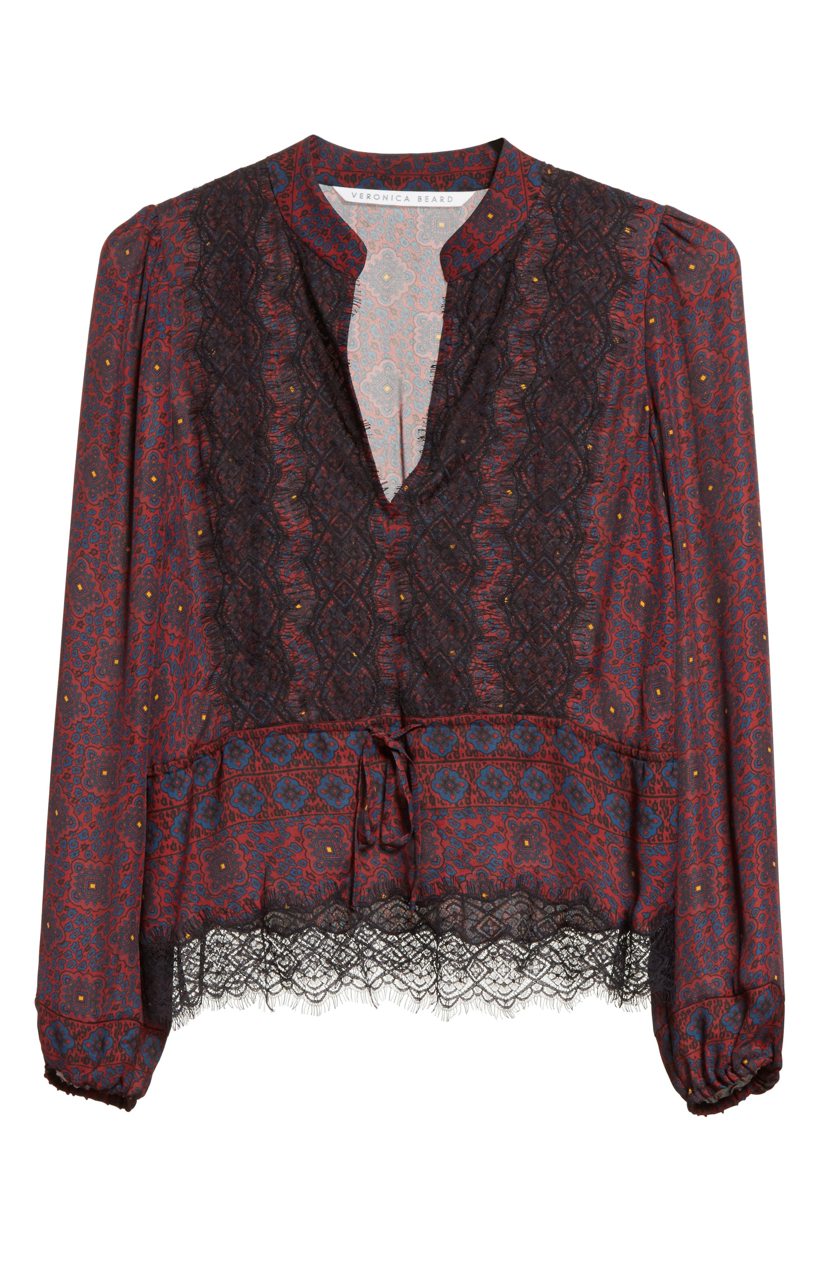 Lindberg Lace Trim Print Silk Blouse,                             Alternate thumbnail 7, color,                             Bordeaux/ Navy