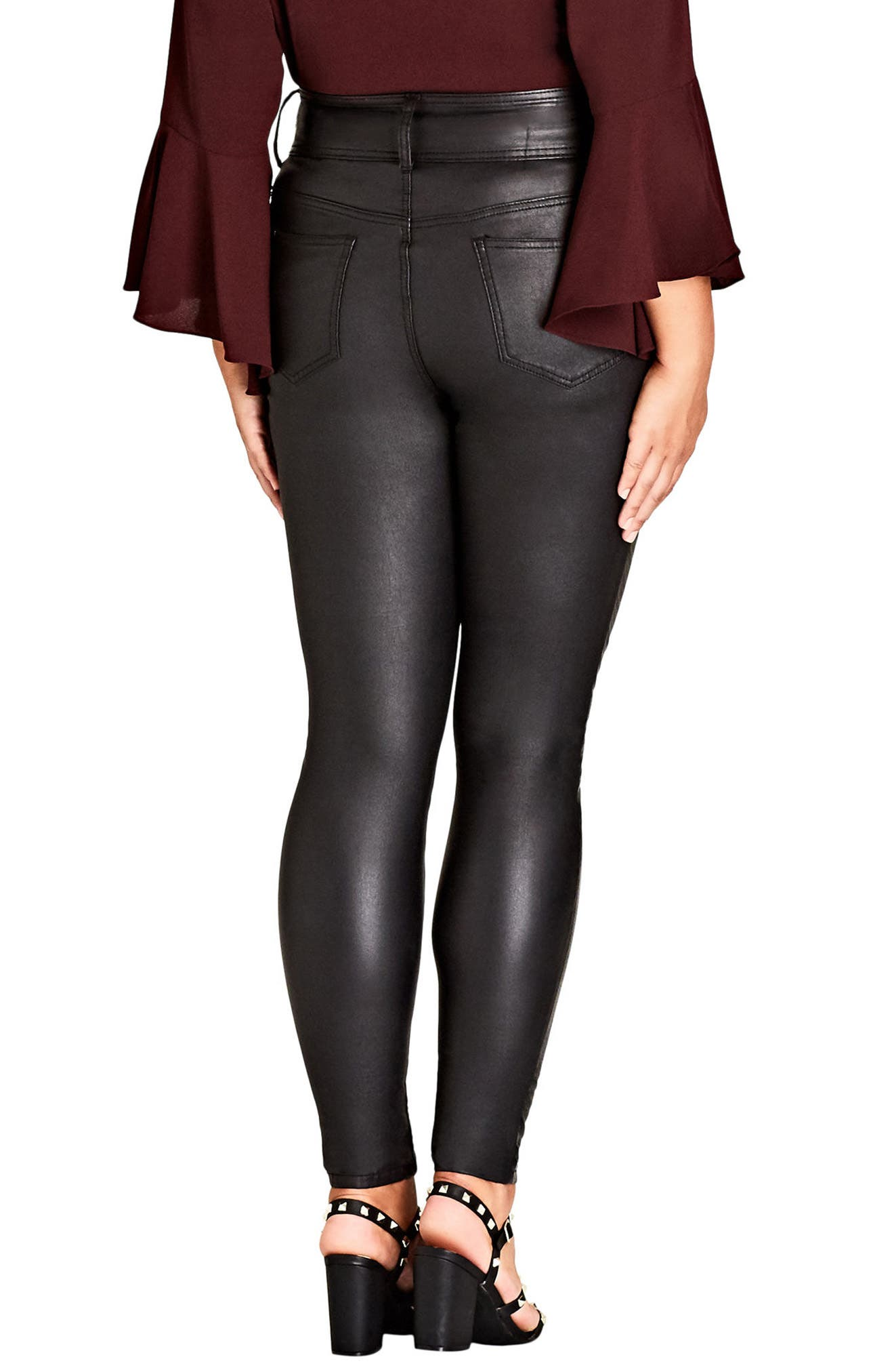 Alternate Image 2  - City Chic Slither Wet Look Print Front Skinny Jeans (Plus Size)
