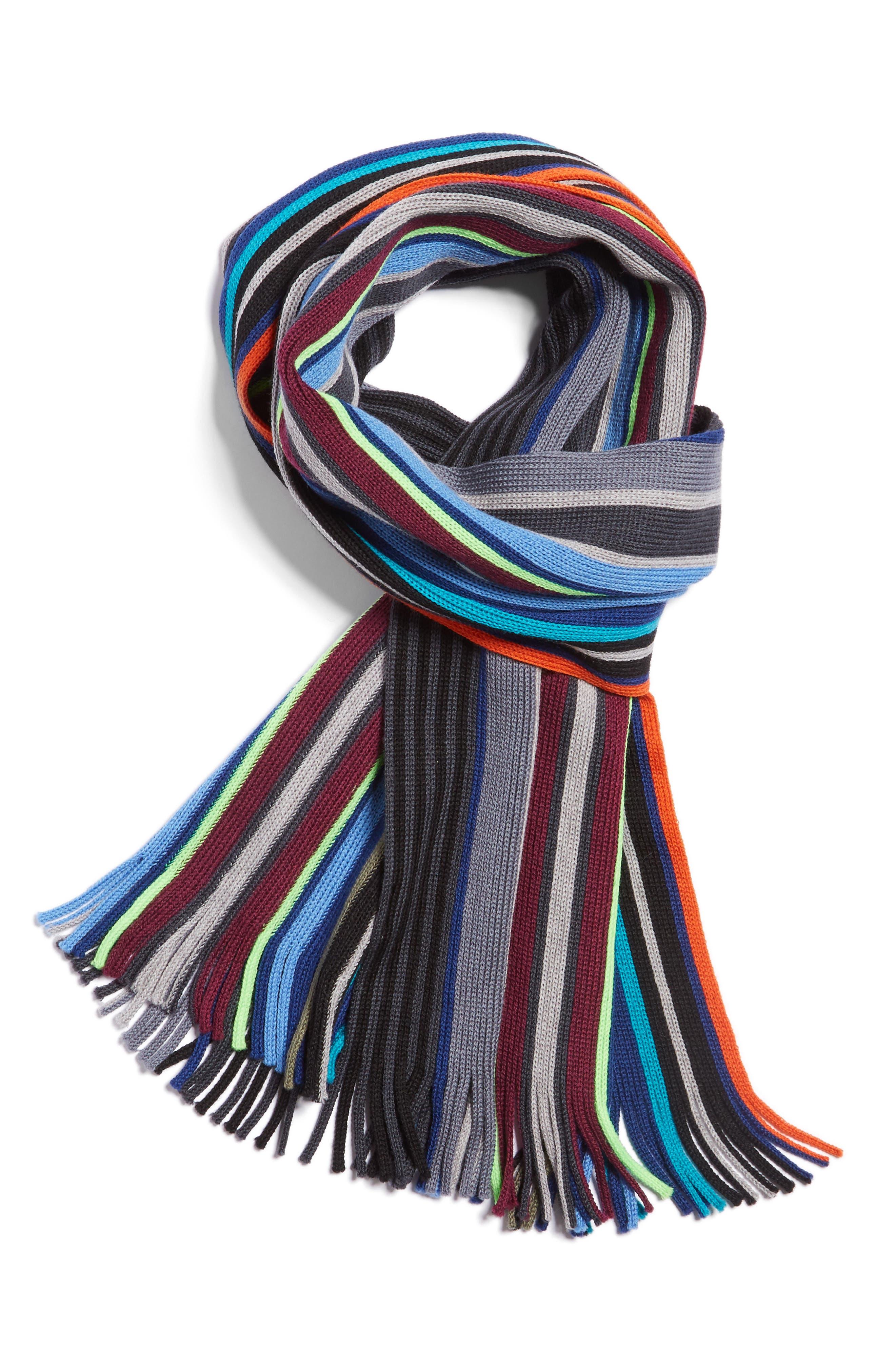 Stripe Wool Scarf,                         Main,                         color, Olive Multi