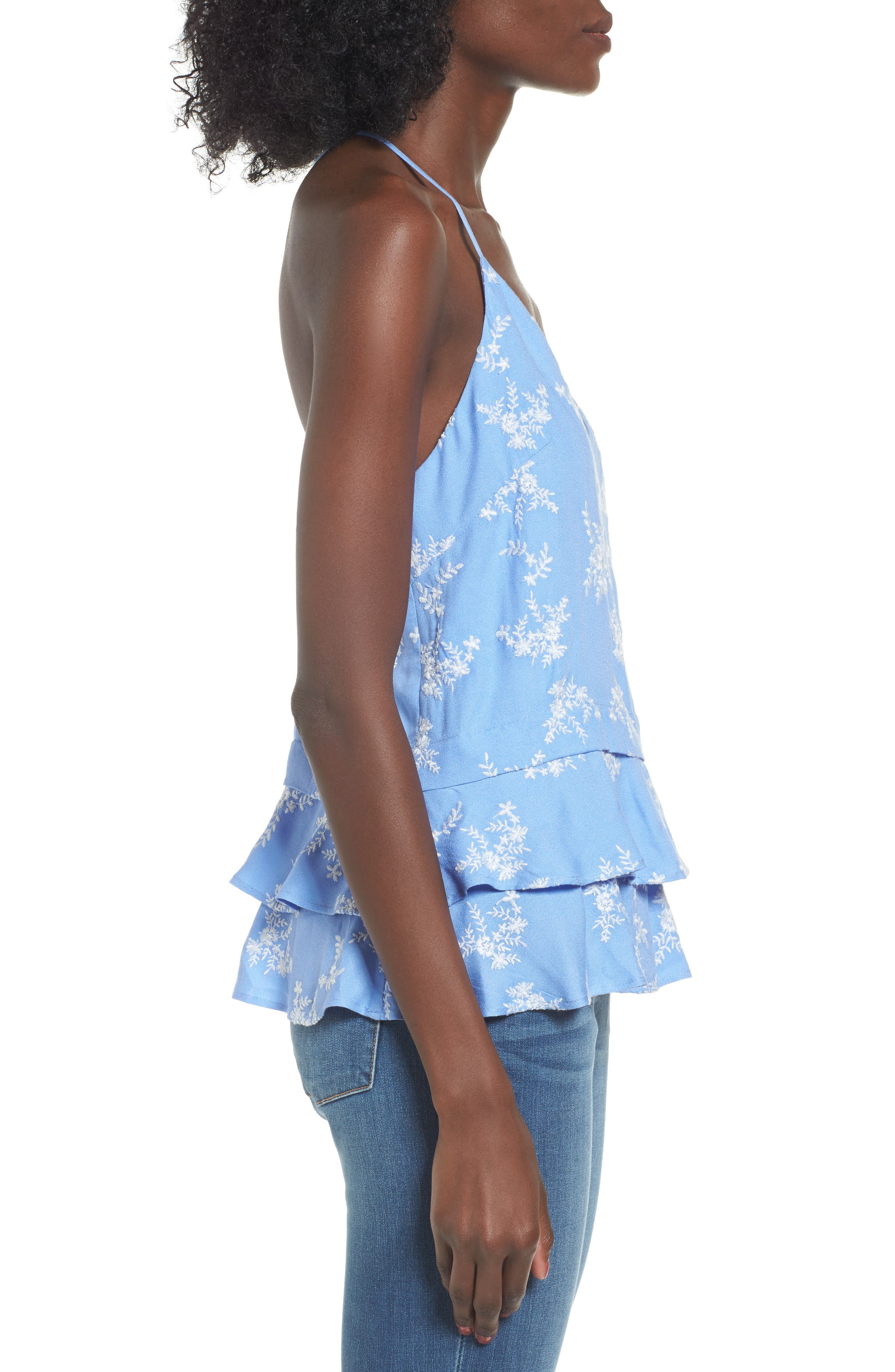 Macey Embroidered Tank,                             Alternate thumbnail 3, color,                             Cornflower