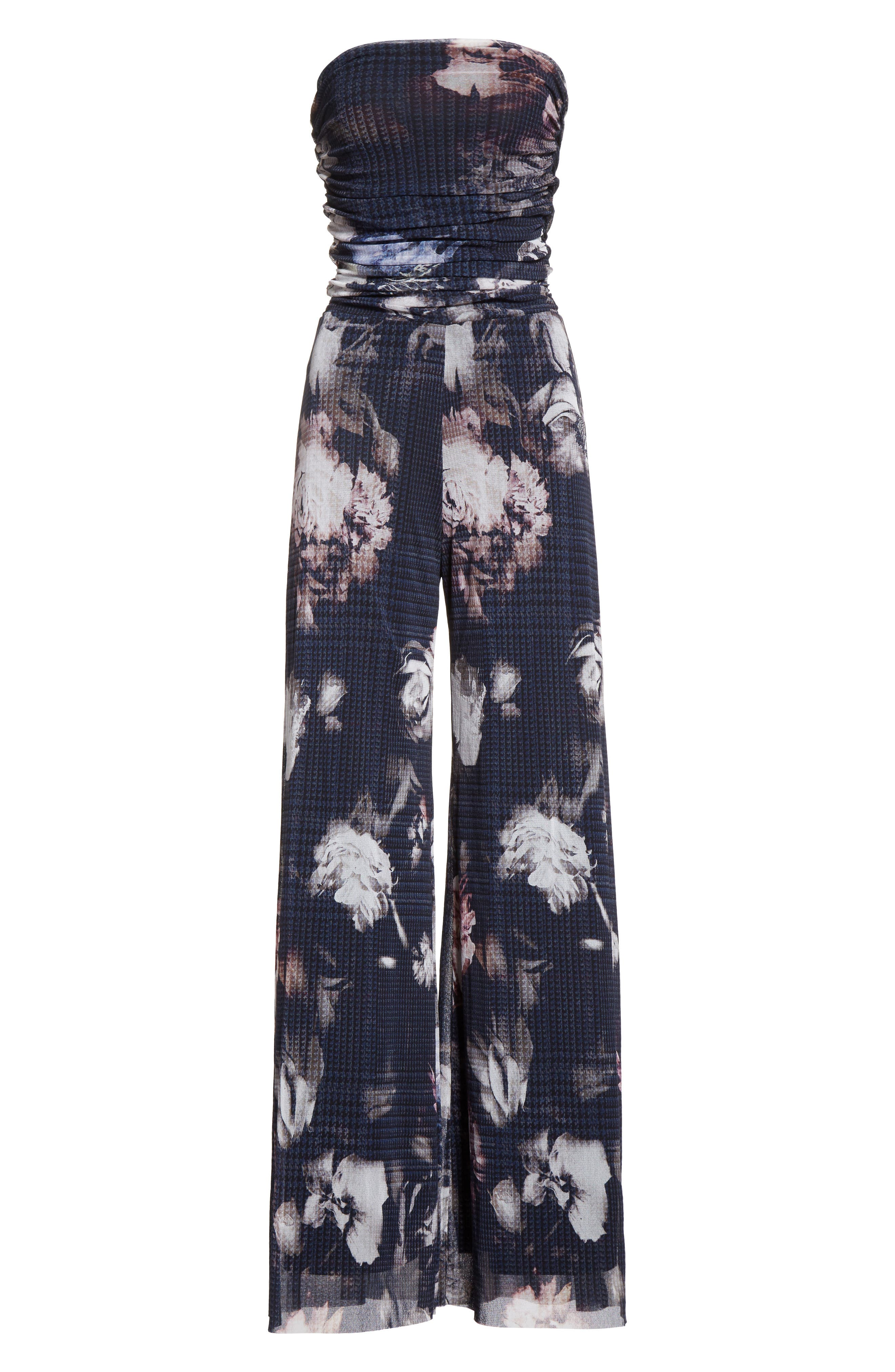Alternate Image 4  - Fuzzi Floral Print Tulle Strapless Jumpsuit