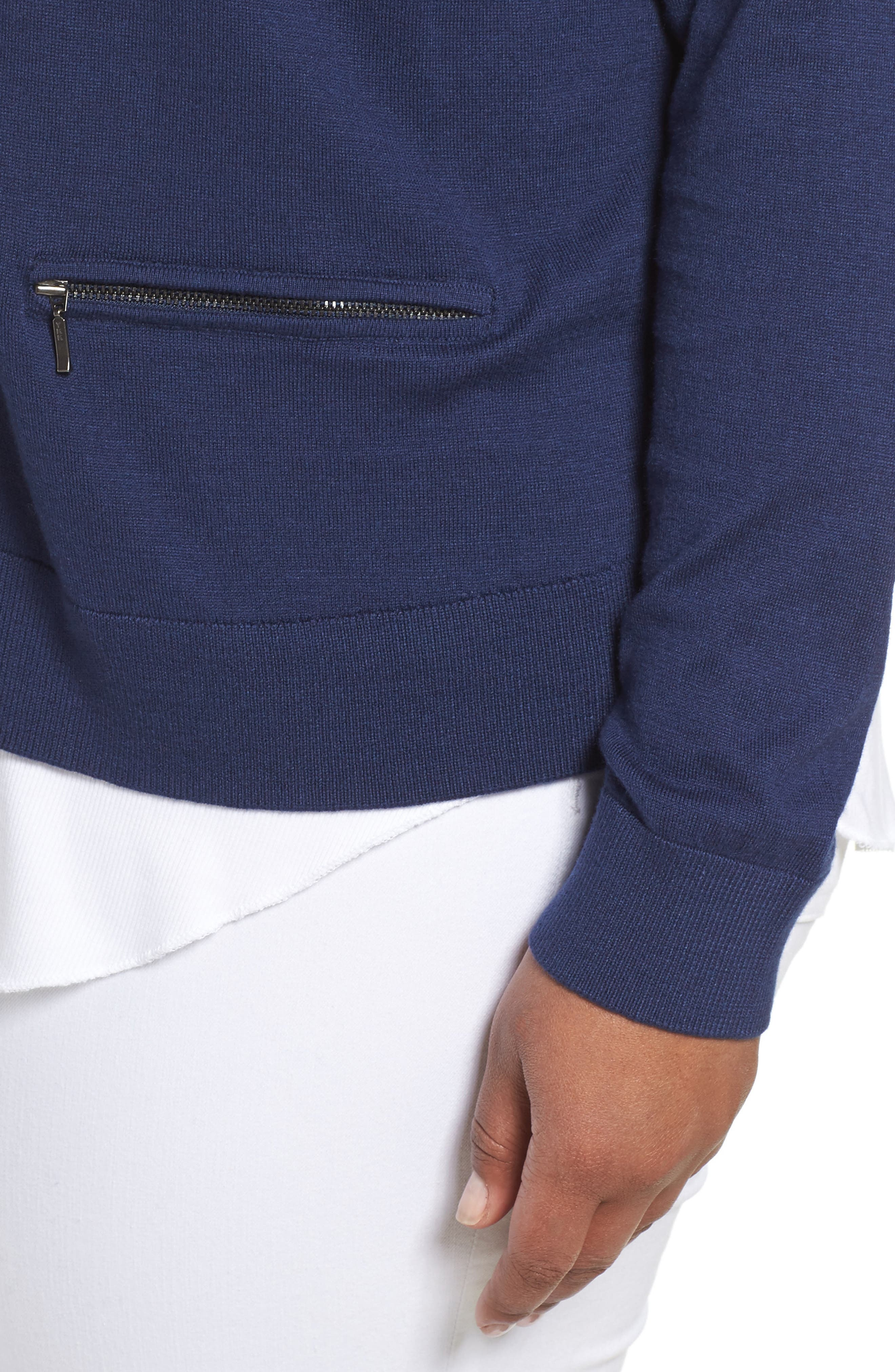 Crop Open Front Cardigan,                             Alternate thumbnail 4, color,                             Navy Medieval