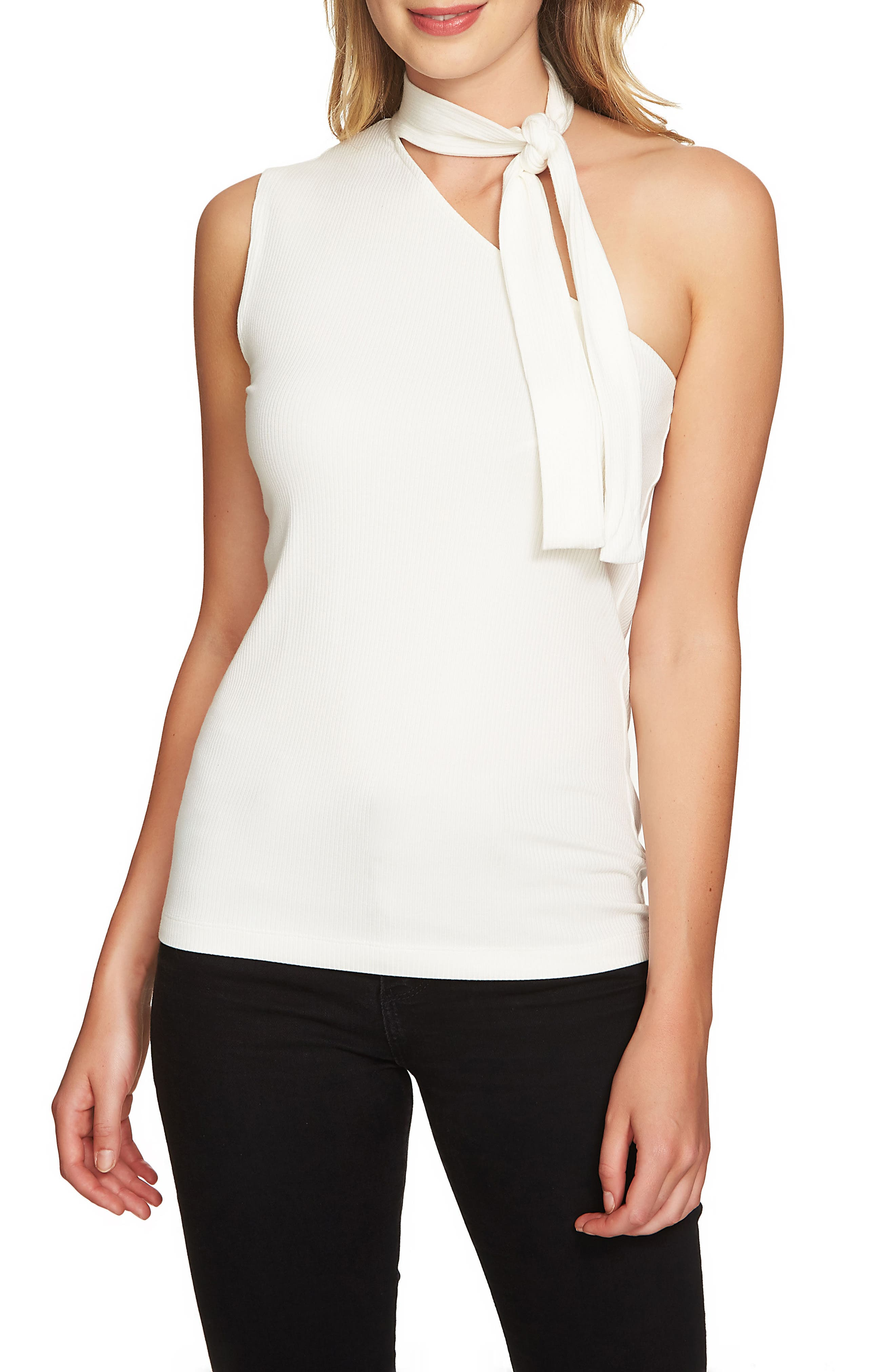 Main Image - 1.STATE Tie Neck One-Shoulder Top