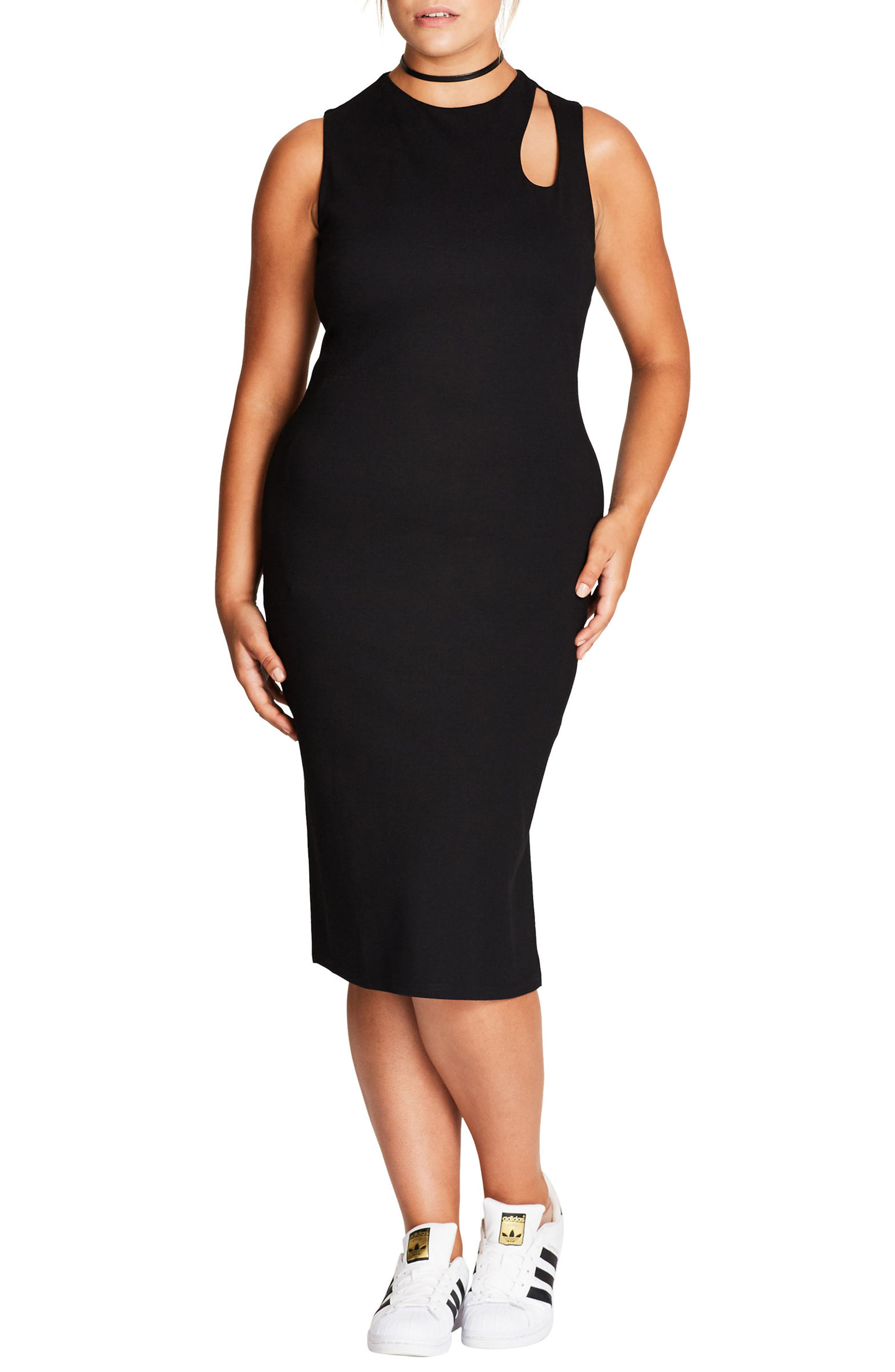 City Chic Peep Body-Con Dress (Plus Size)