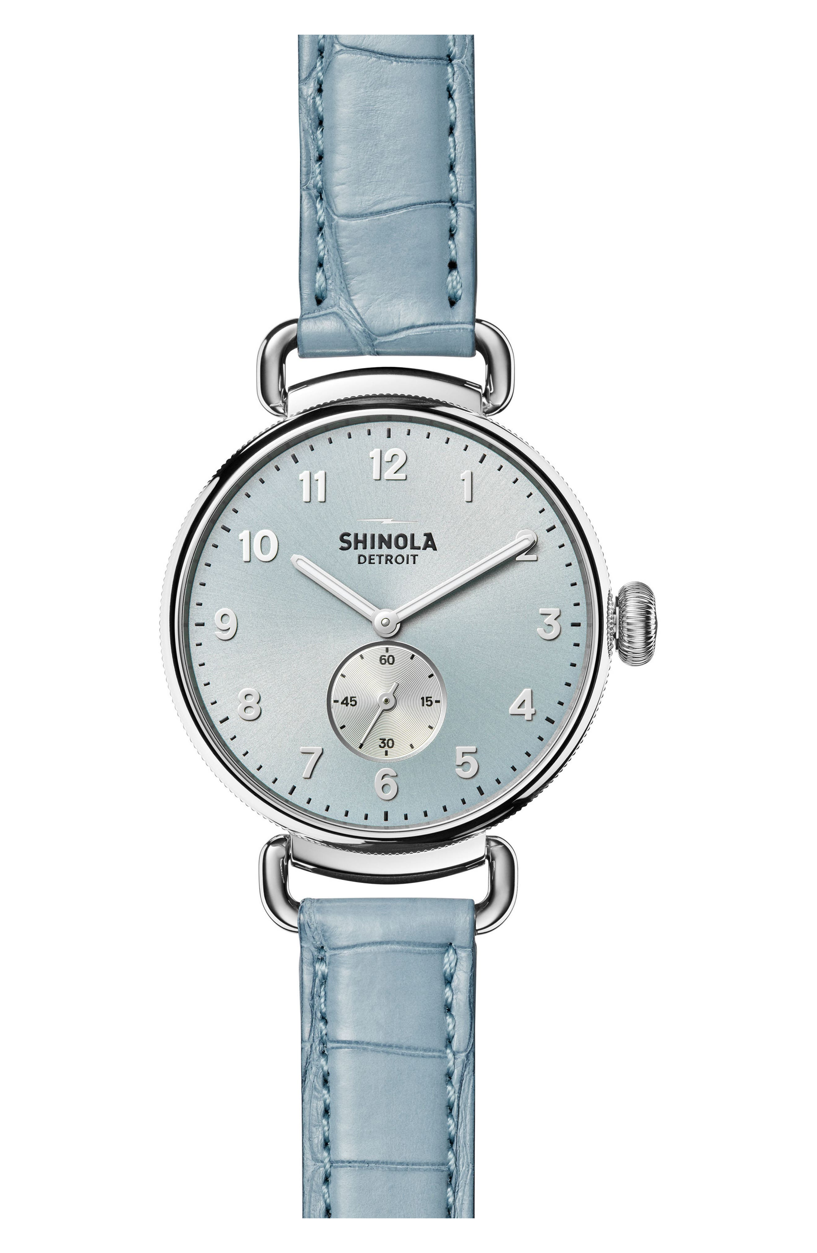 The Canfield Alligator Strap Watch, 38mm,                             Main thumbnail 1, color,                             Slate Blue/ Silver