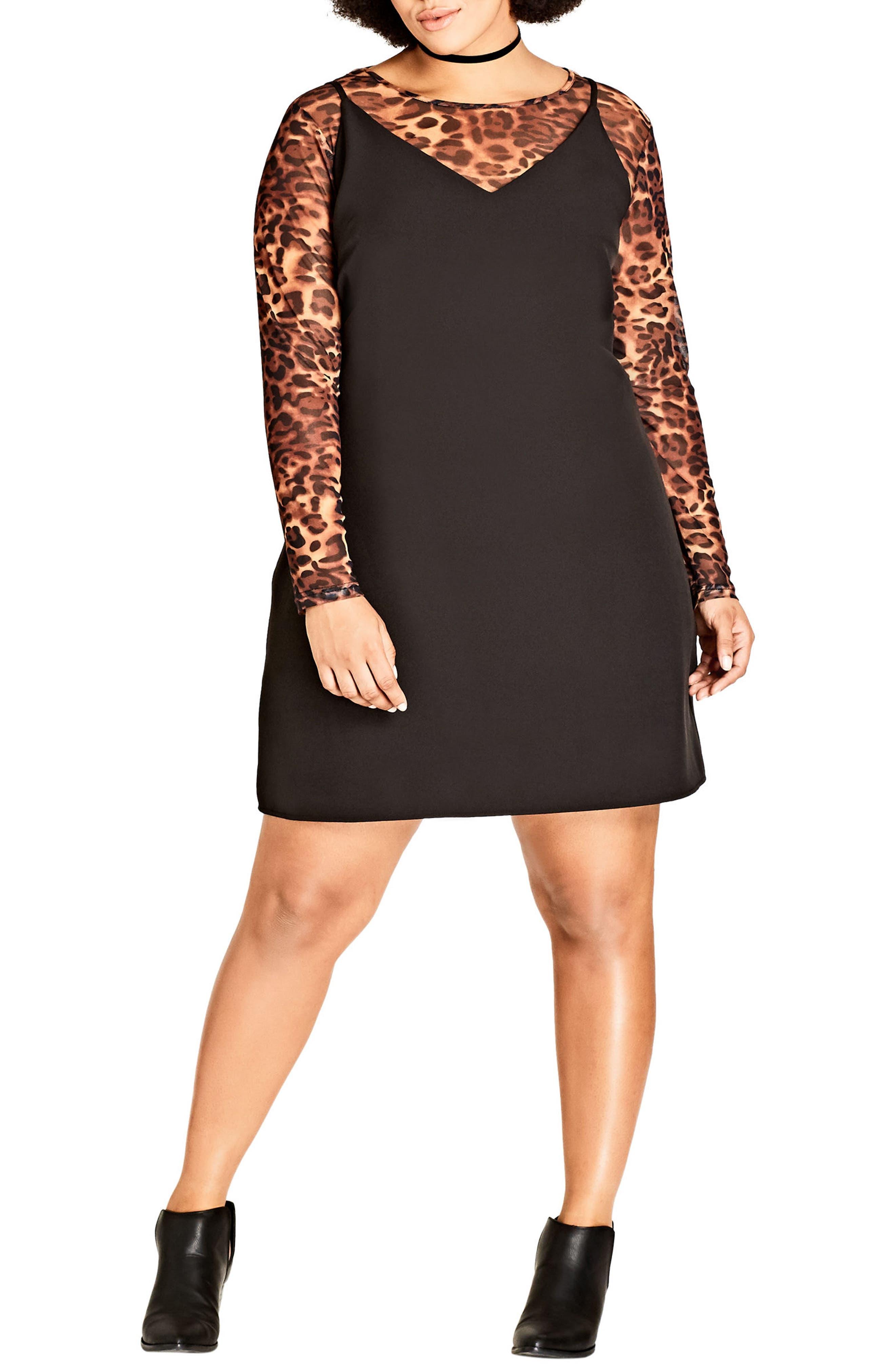 City Chic '90s Leopard Print Two-Piece Dress (Plus Size)