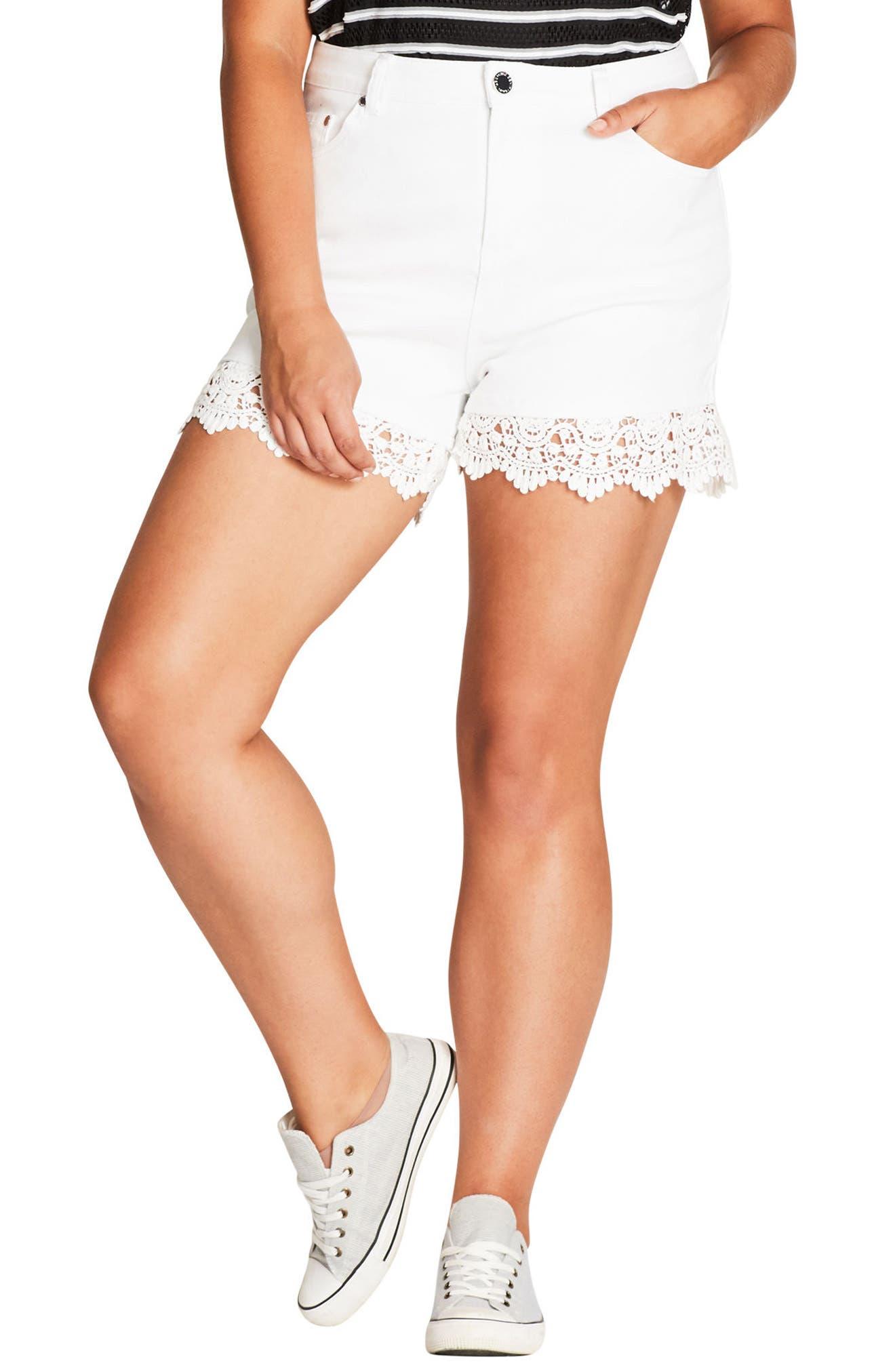 Crochet Hem Short Shorts,                             Main thumbnail 1, color,                             Ivory