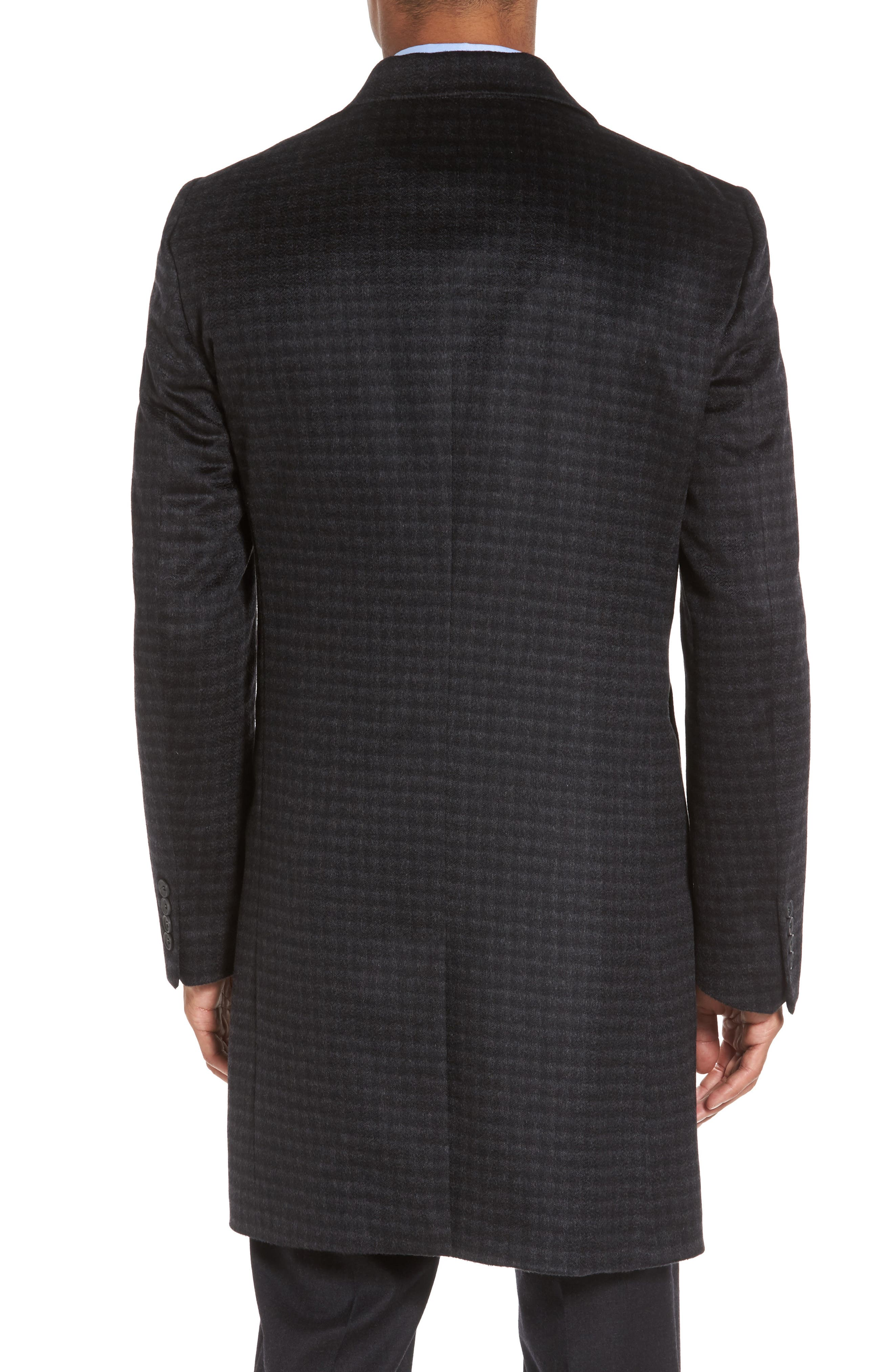 Cameron Check Cashmere Overcoat,                             Alternate thumbnail 2, color,                             Charcoal