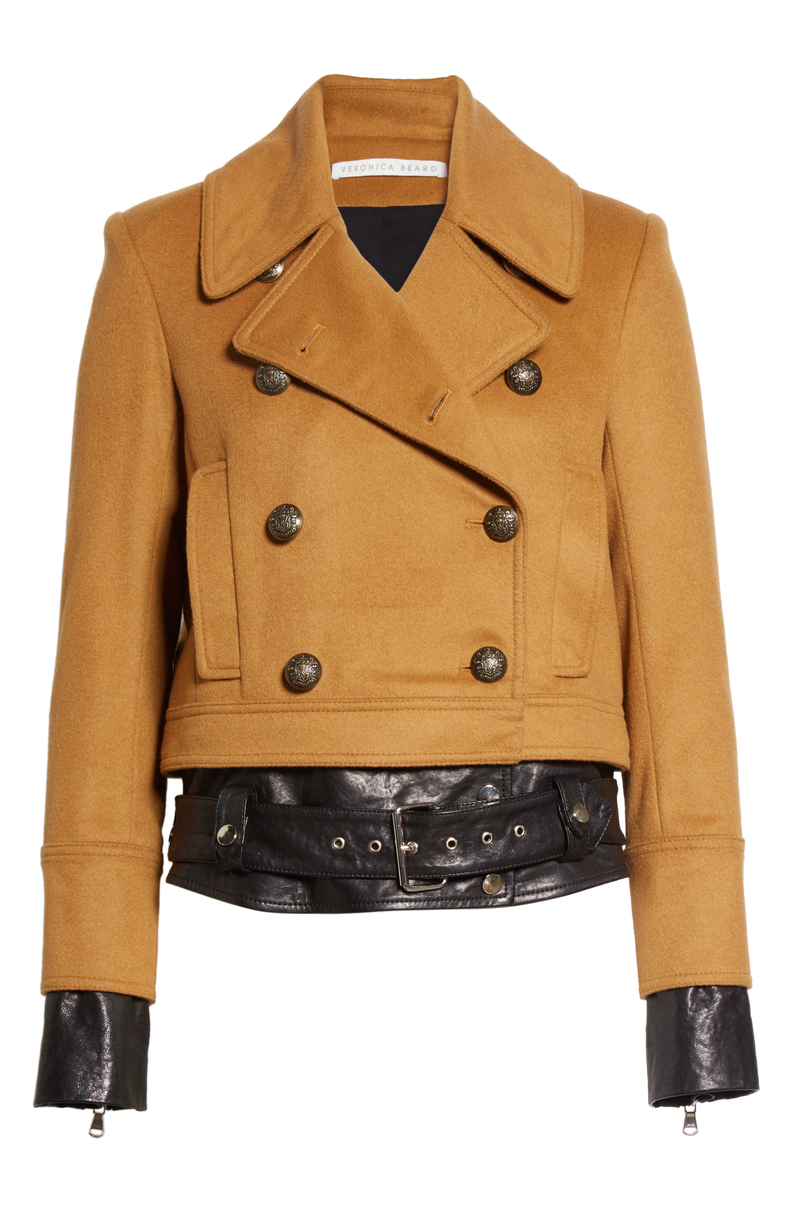 Yara Leather Hem Peacoat,                             Alternate thumbnail 7, color,                             Camel