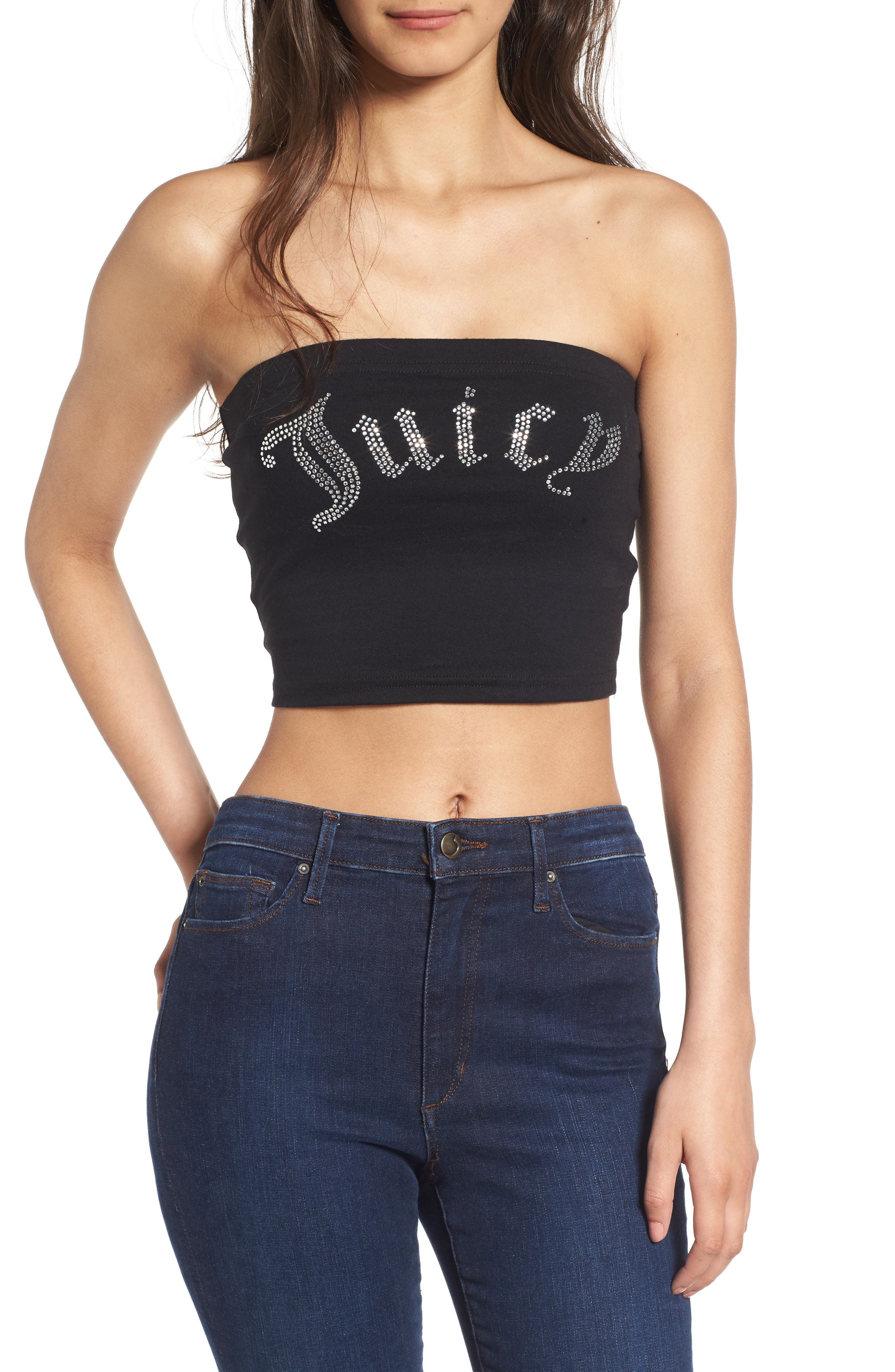 Gothic Crystals Jersey Tube Top,                         Main,                         color, Pitch Black