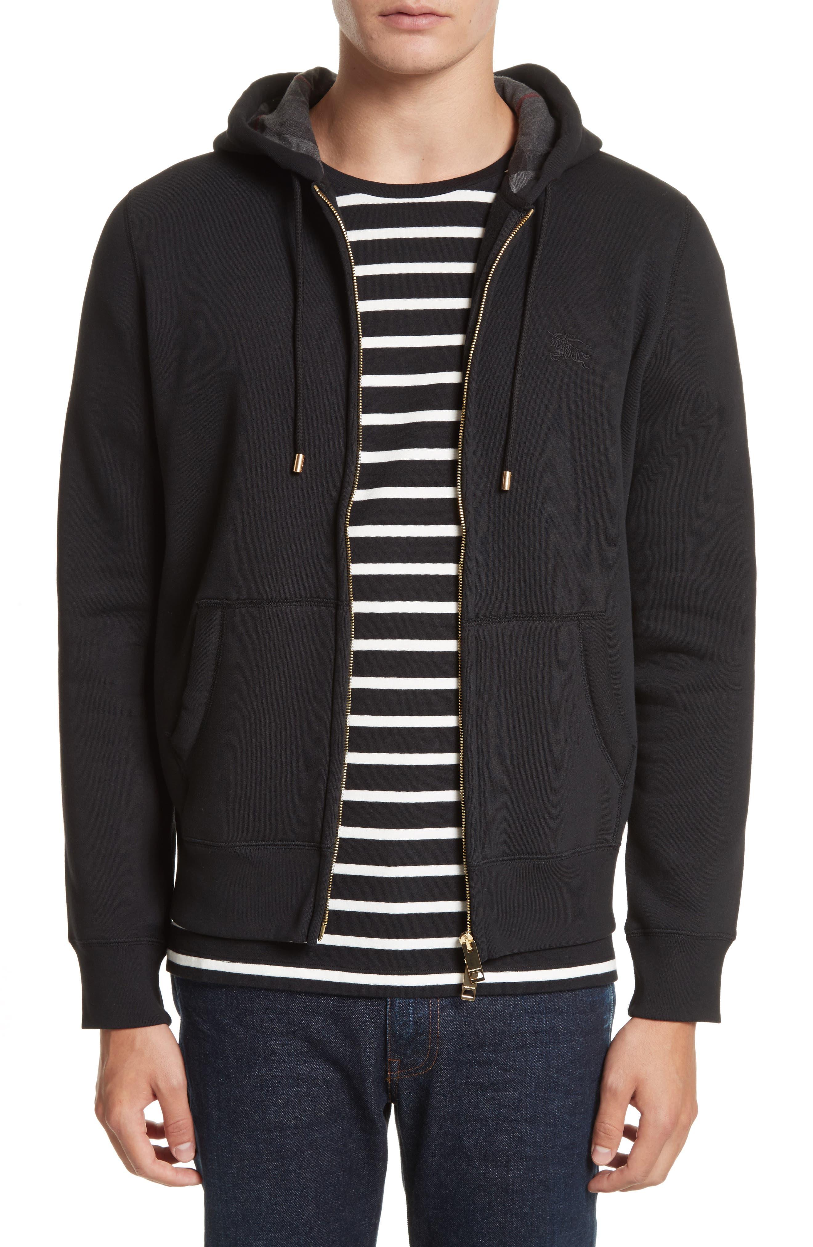 Claredon Regular Fit Zip Hoodie,                         Main,                         color, Black