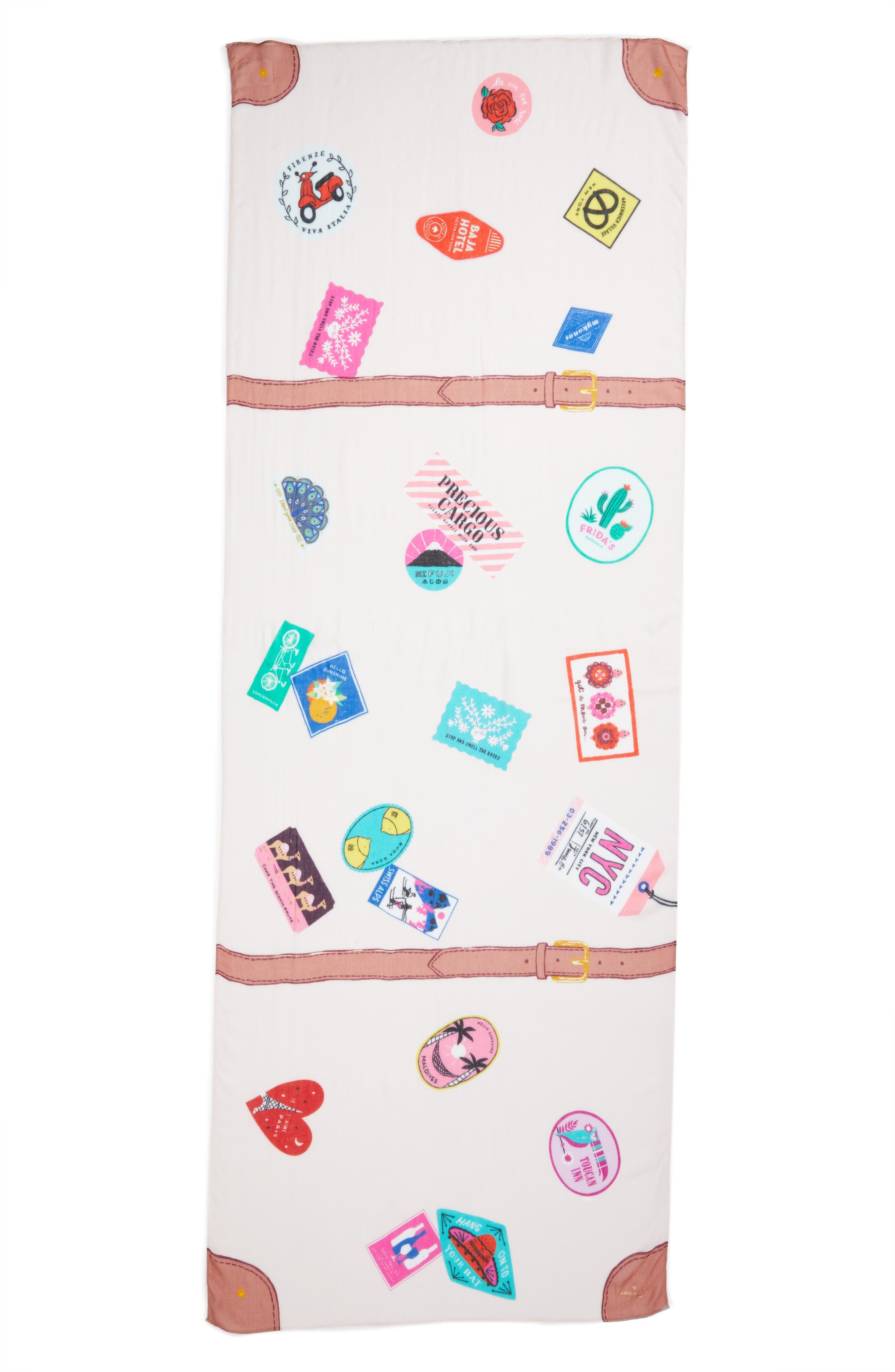 luggage oblong scarf,                             Alternate thumbnail 2, color,                             Au Naturel
