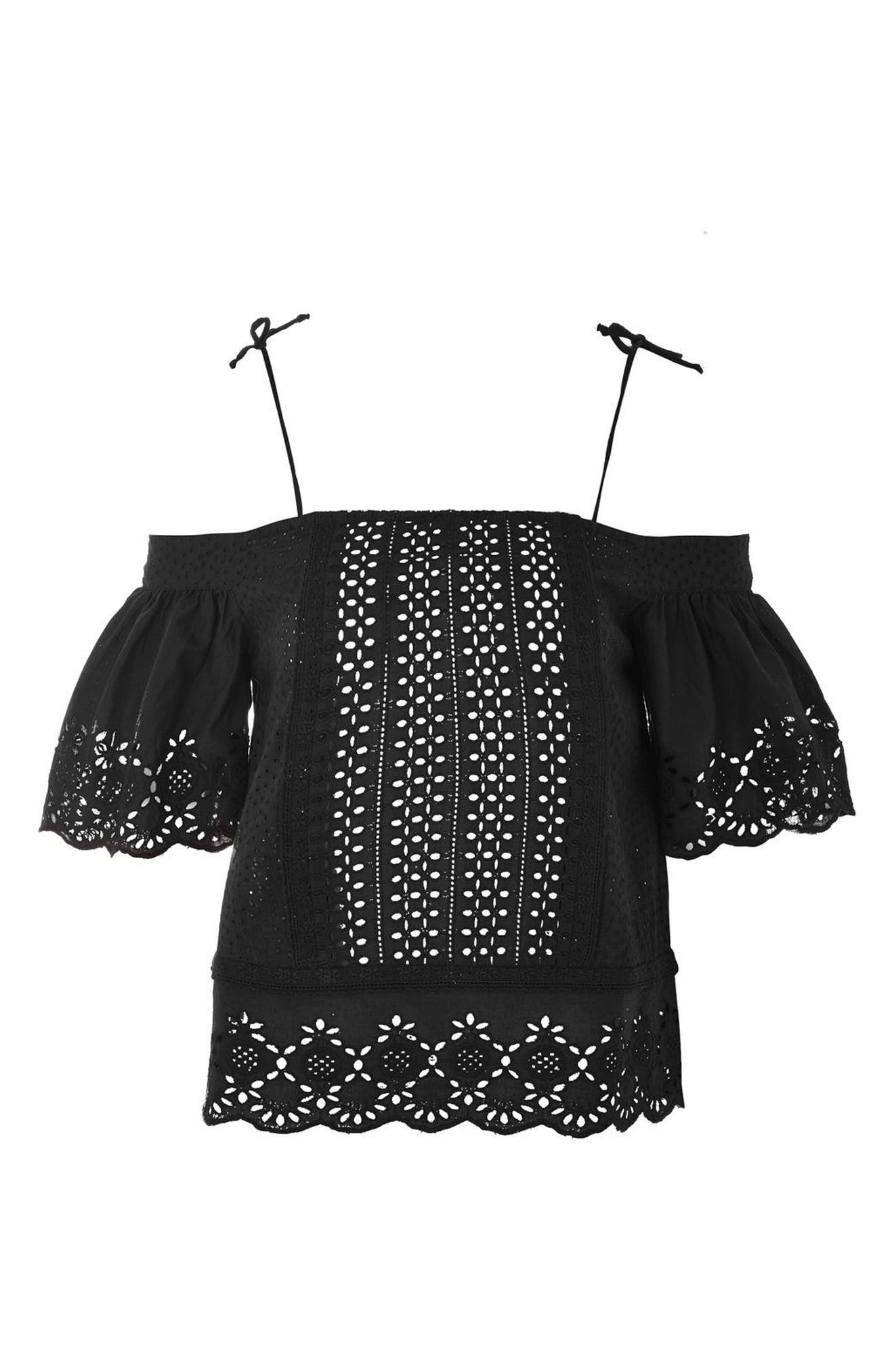 Alternate Image 4  - Topshop Broderie Bardot Top