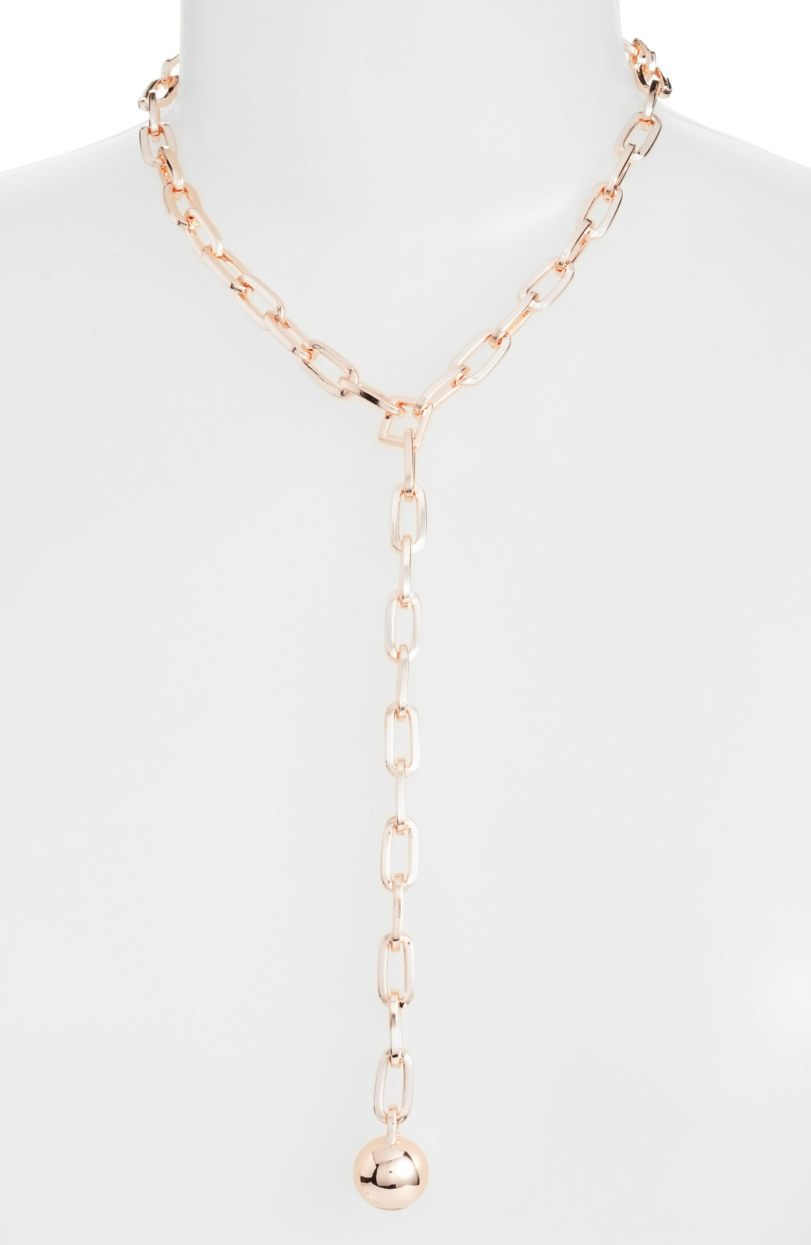 Sphere Y-Necklace,                         Main,                         color, Rose Gold