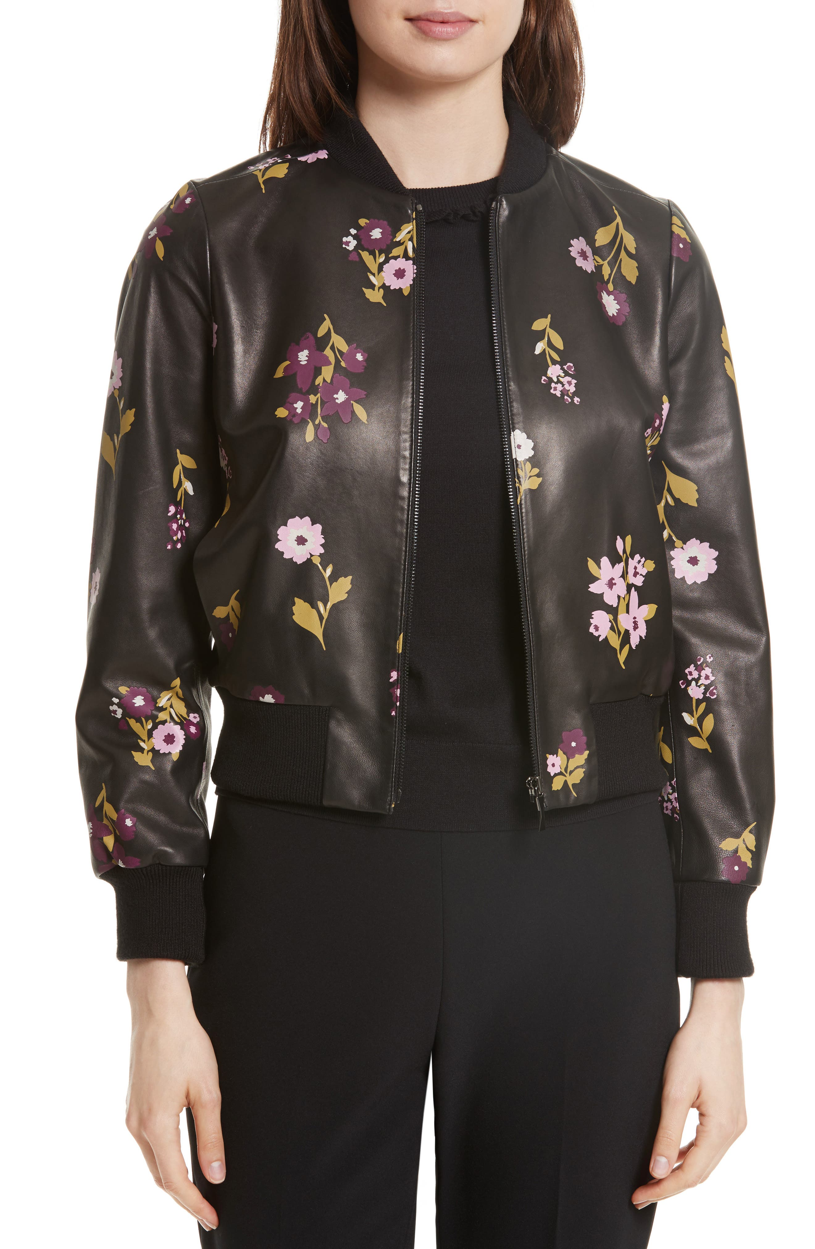 in bloom leather bomber jacket,                             Main thumbnail 1, color,                             Black