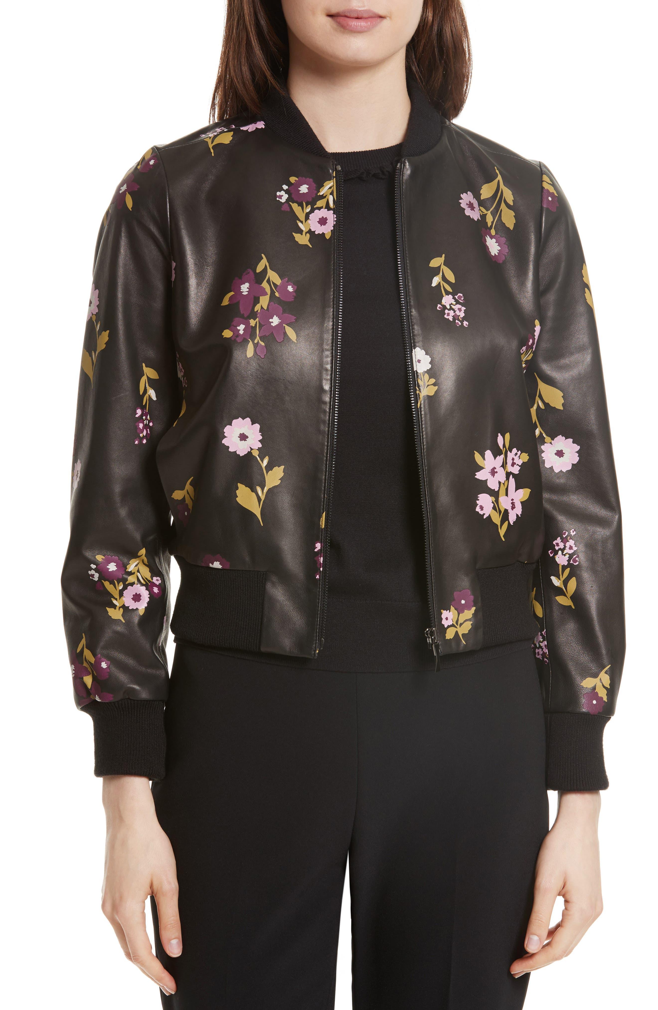 Alternate Image 1 Selected - kate spade new york in bloom leather bomber jacket