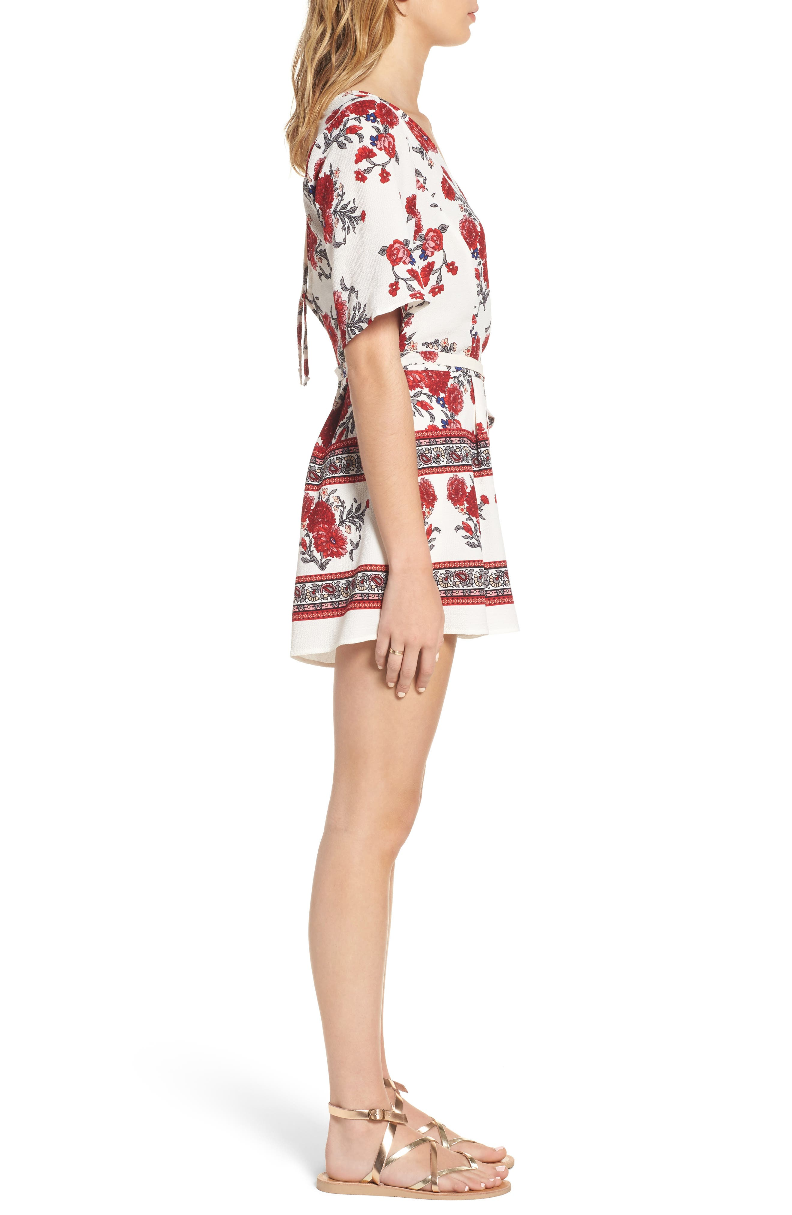Alternate Image 3  - Row A Border Print Faux Wrap Romper