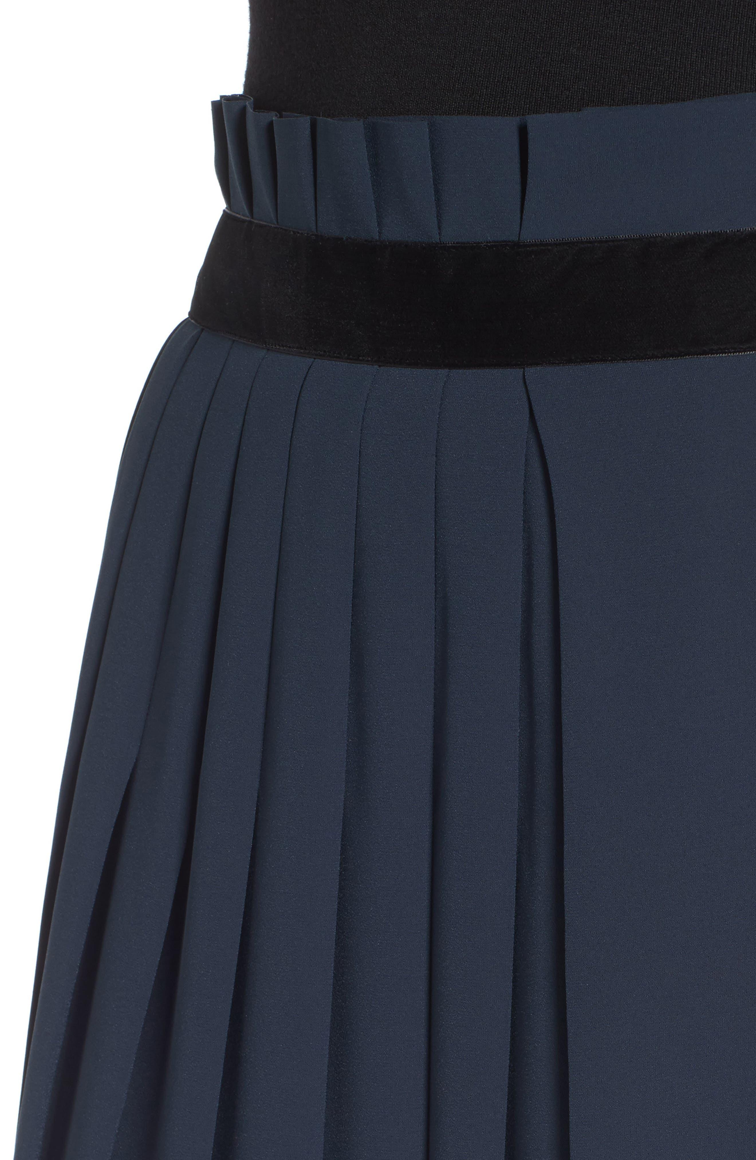 Velvet Trim Pleated Crepe Skirt,                             Alternate thumbnail 4, color,                             Green Scarab