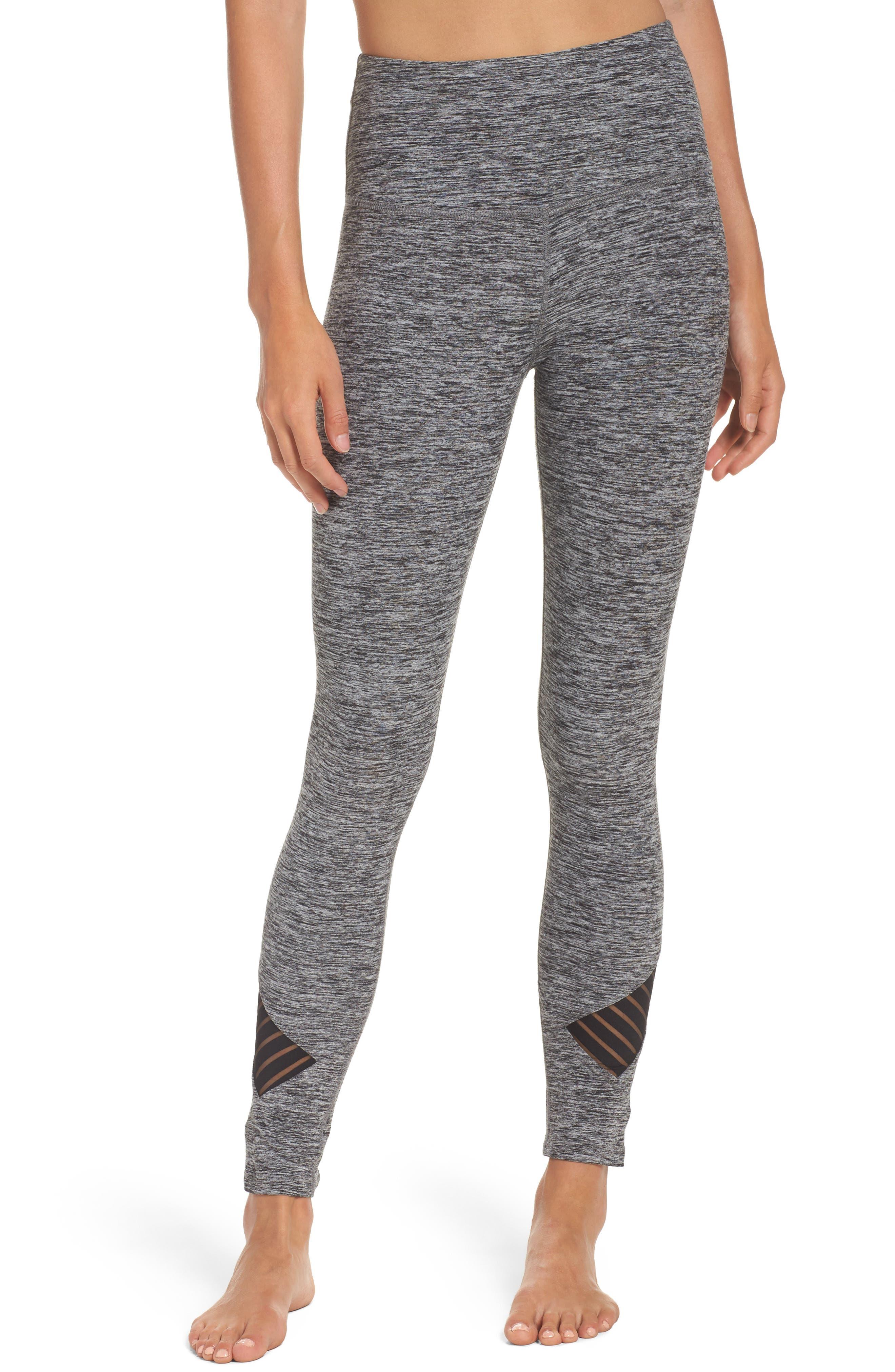Stacked & Sliced High Waist Leggings,                         Main,                         color, Black-White