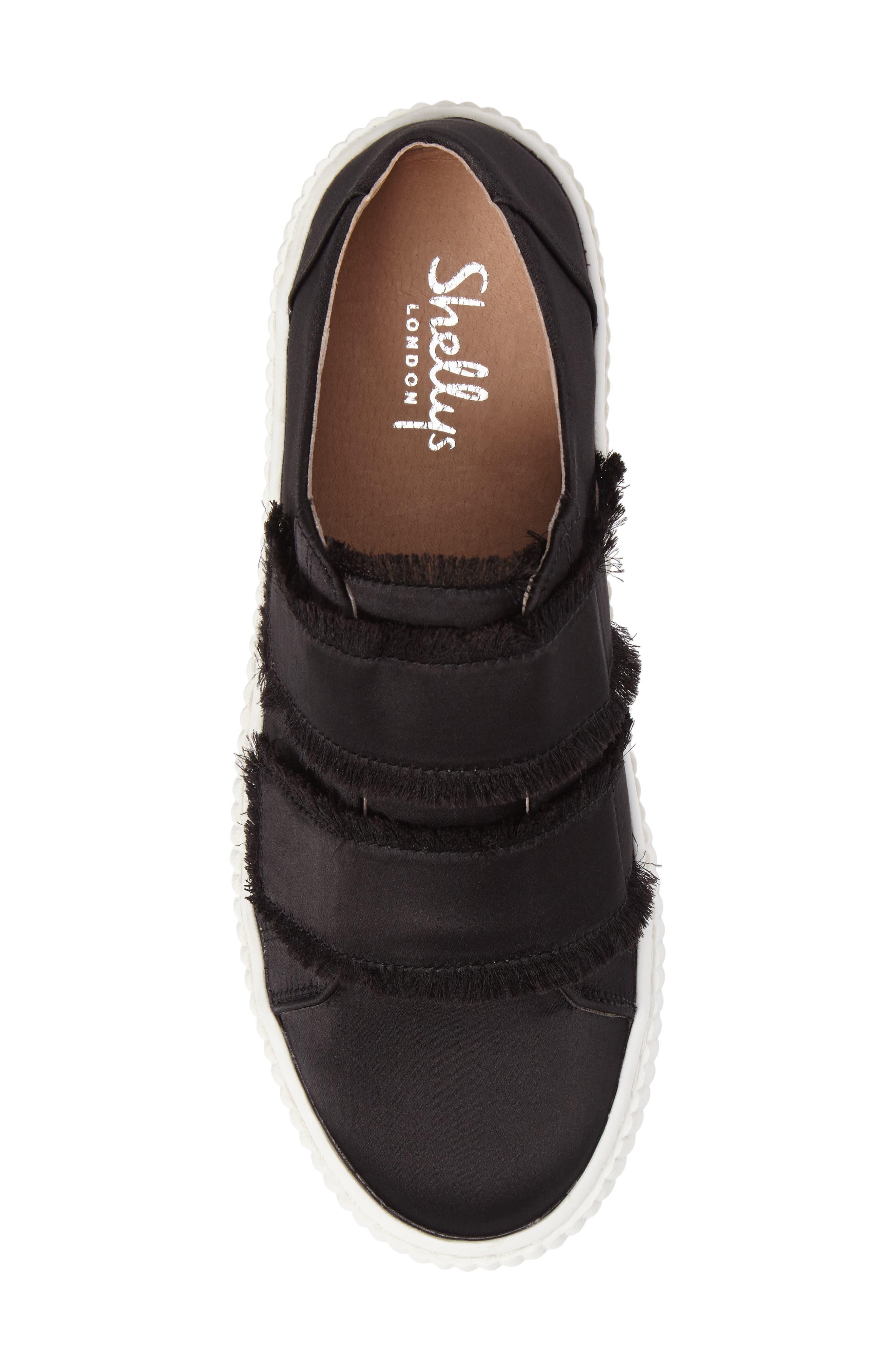 Elder Fringed Platform Sneaker,                             Alternate thumbnail 5, color,                             Black