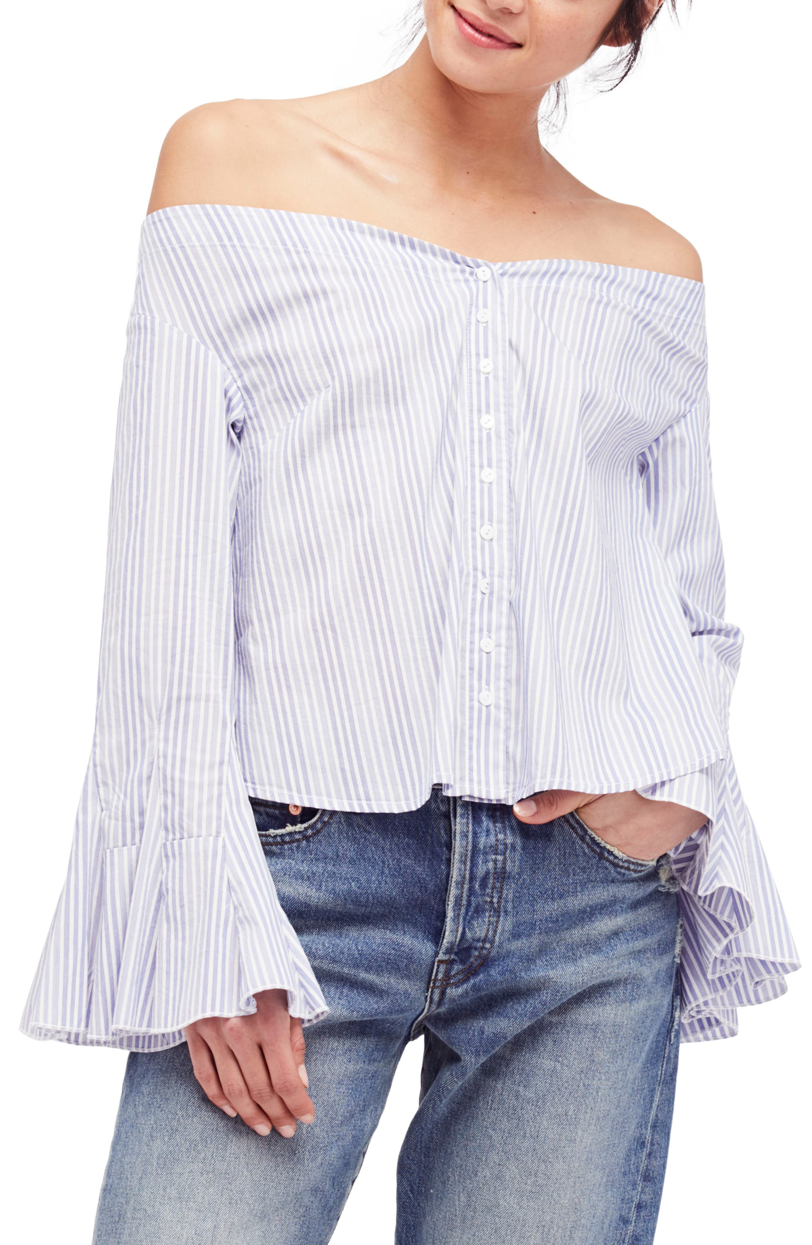 March to the Beat Off the Shoulder Top,                         Main,                         color, Blue Combo