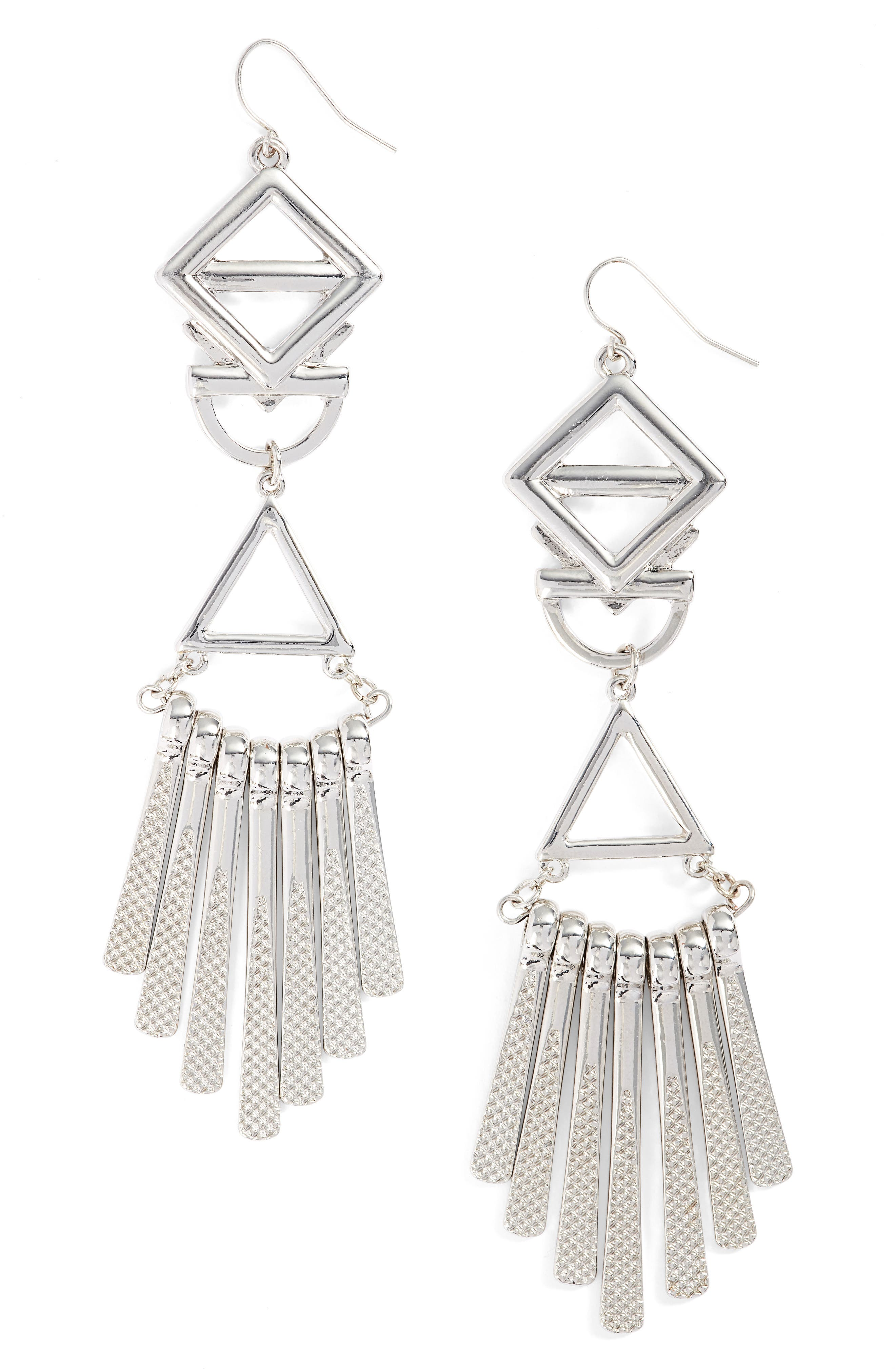 Geometric Drop Earrings,                         Main,                         color, Silver
