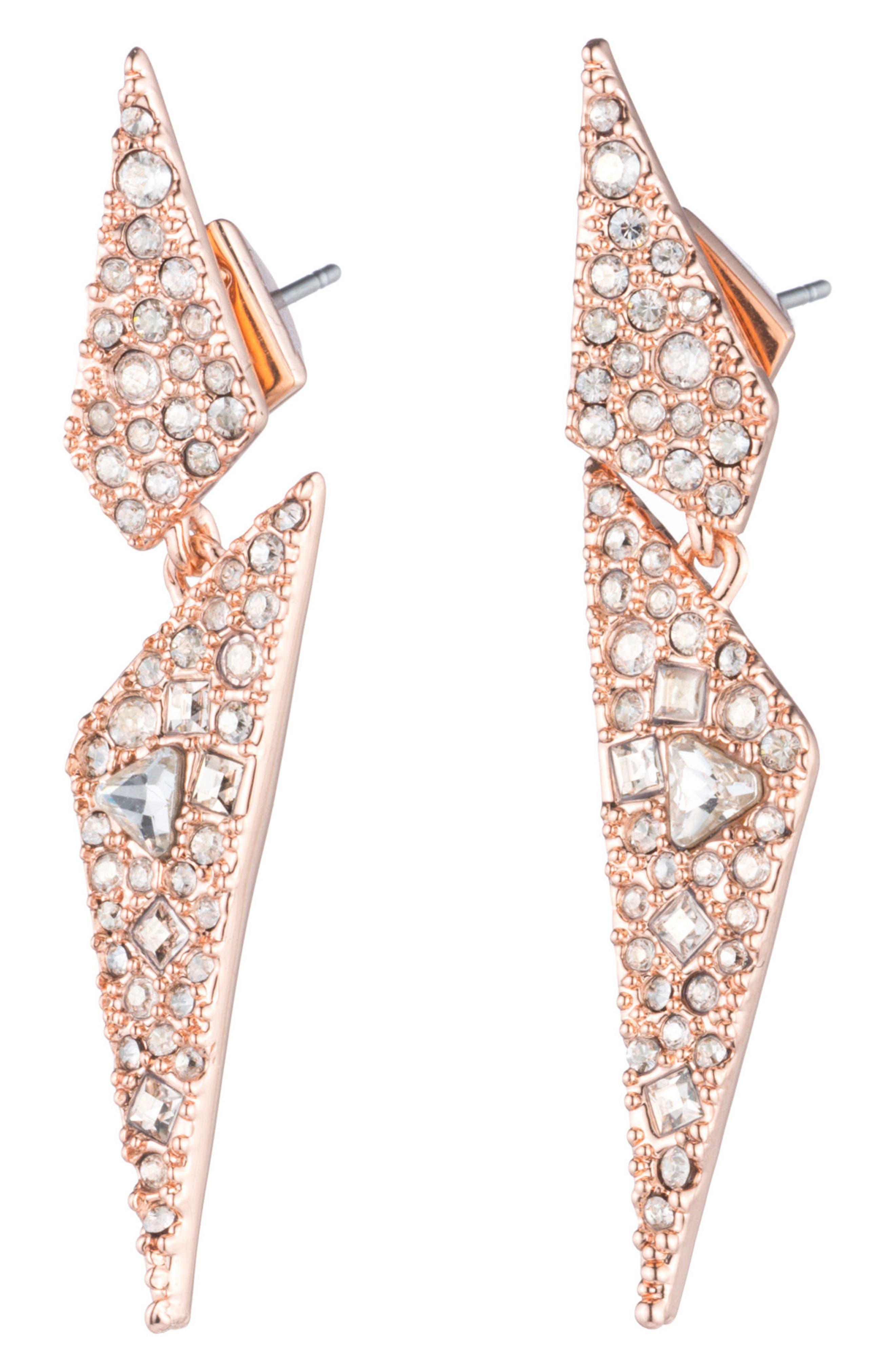 Crystal Encrusted Dangling Drop Earrings,                         Main,                         color, Rose Gold