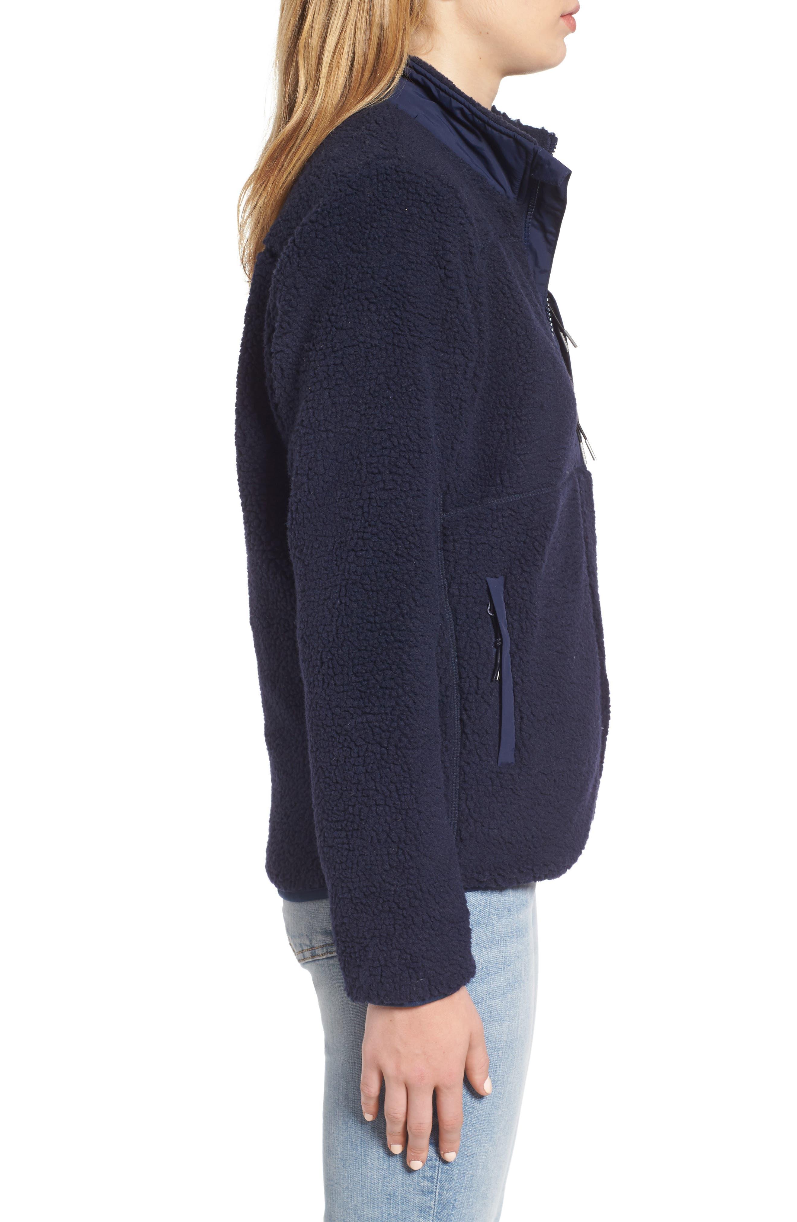 Mattawa Fleece Jacket,                             Alternate thumbnail 3, color,                             Navy