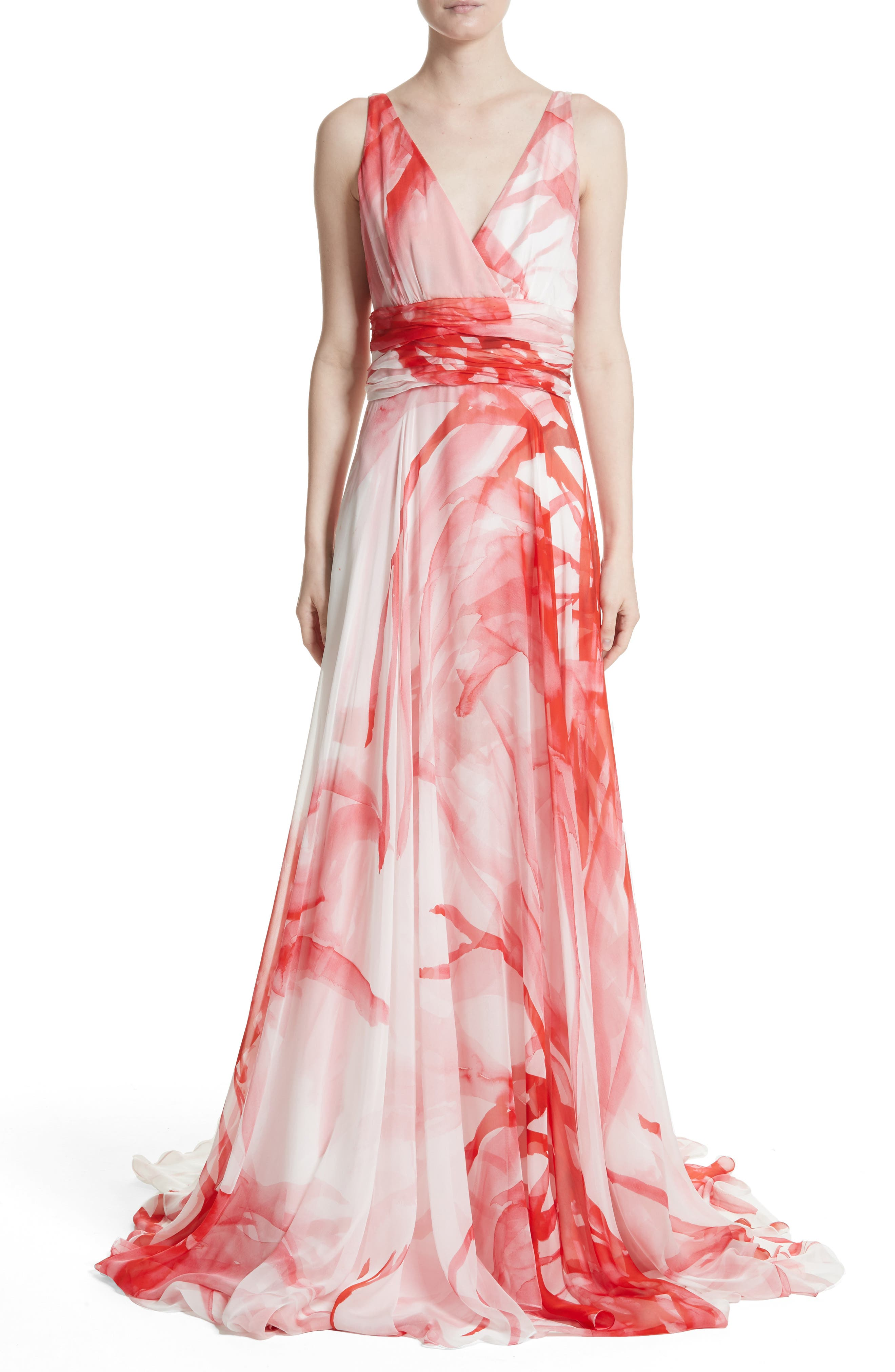 Print Silk Chiffon Gown,                         Main,                         color, Ivory/ Coral